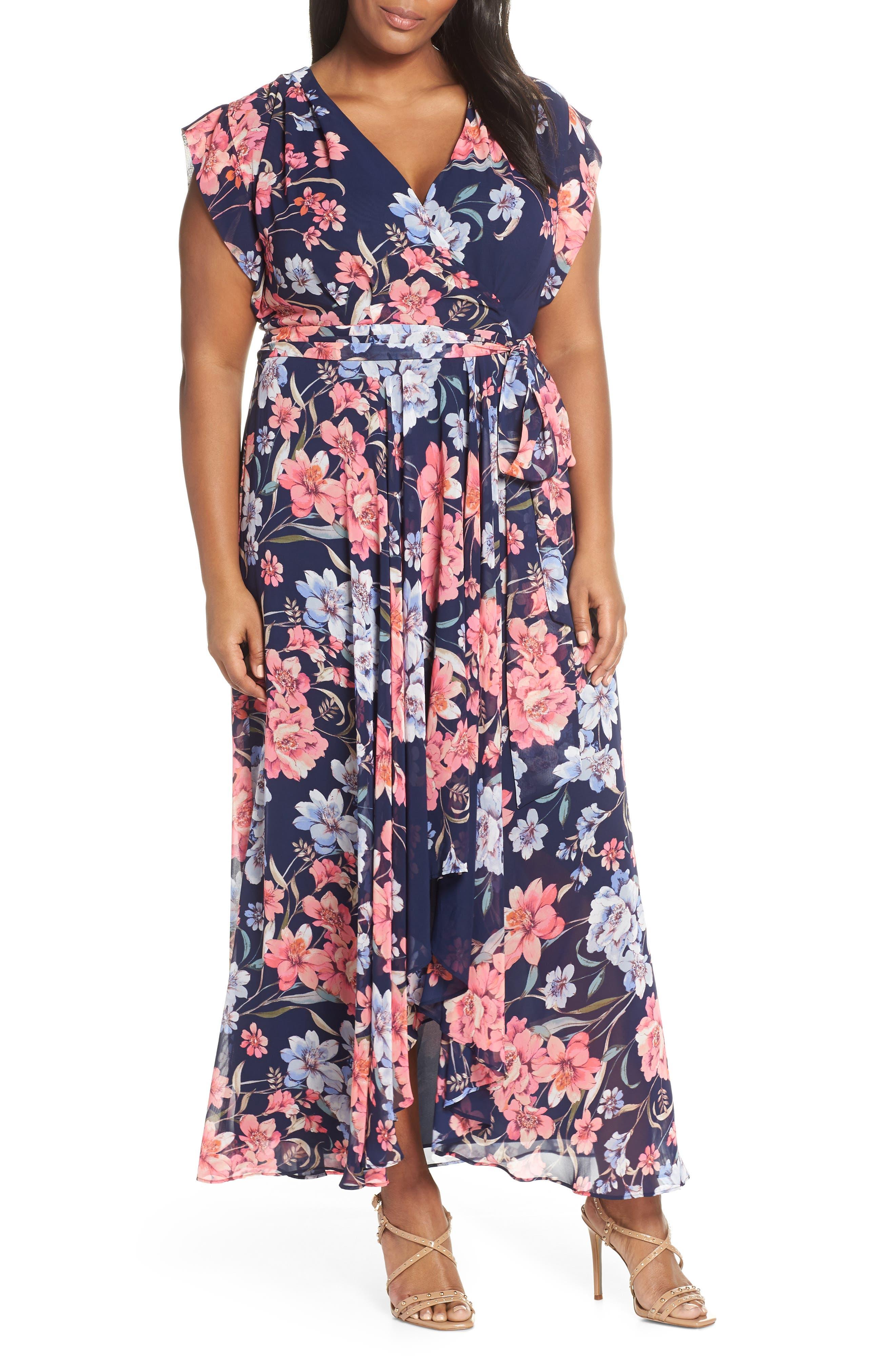 Plus Size Eliza J Floral High/low Faux Wrap Dress, Blue