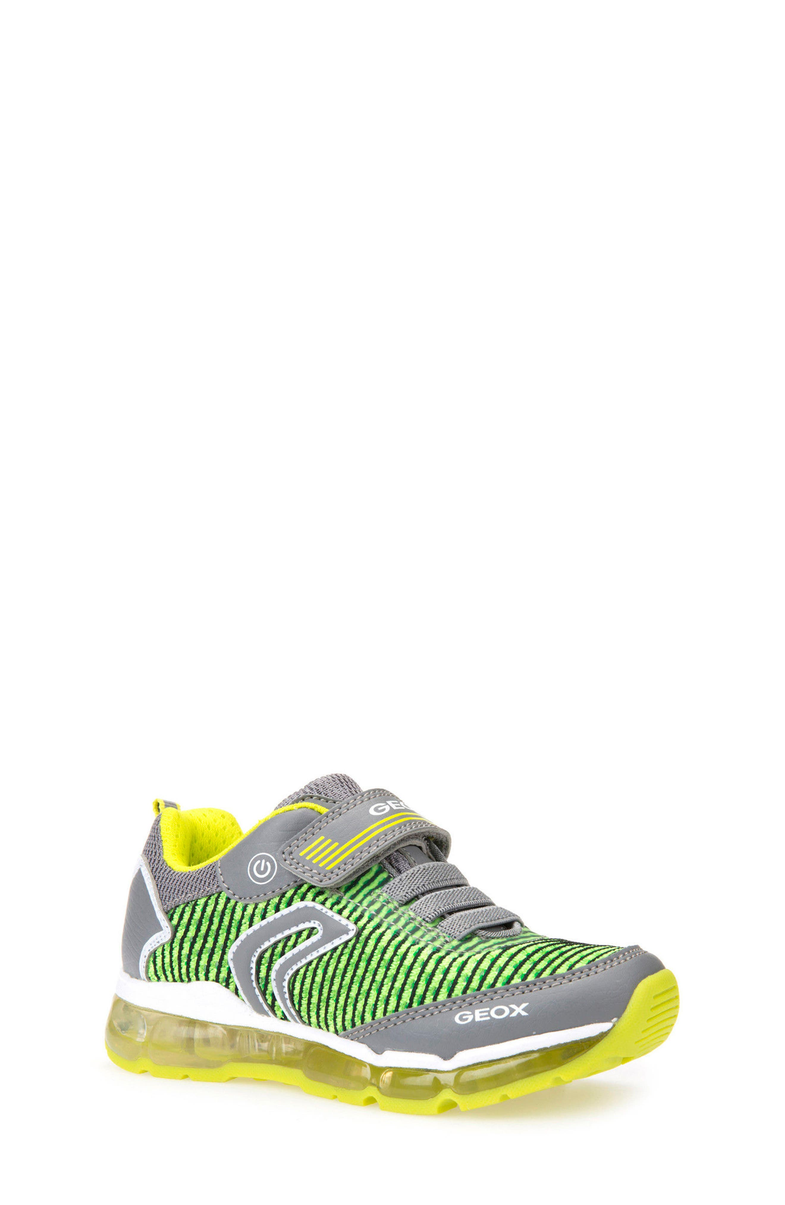 Android Light-Up Sneaker,                             Main thumbnail 1, color,                             GREY/ LIME