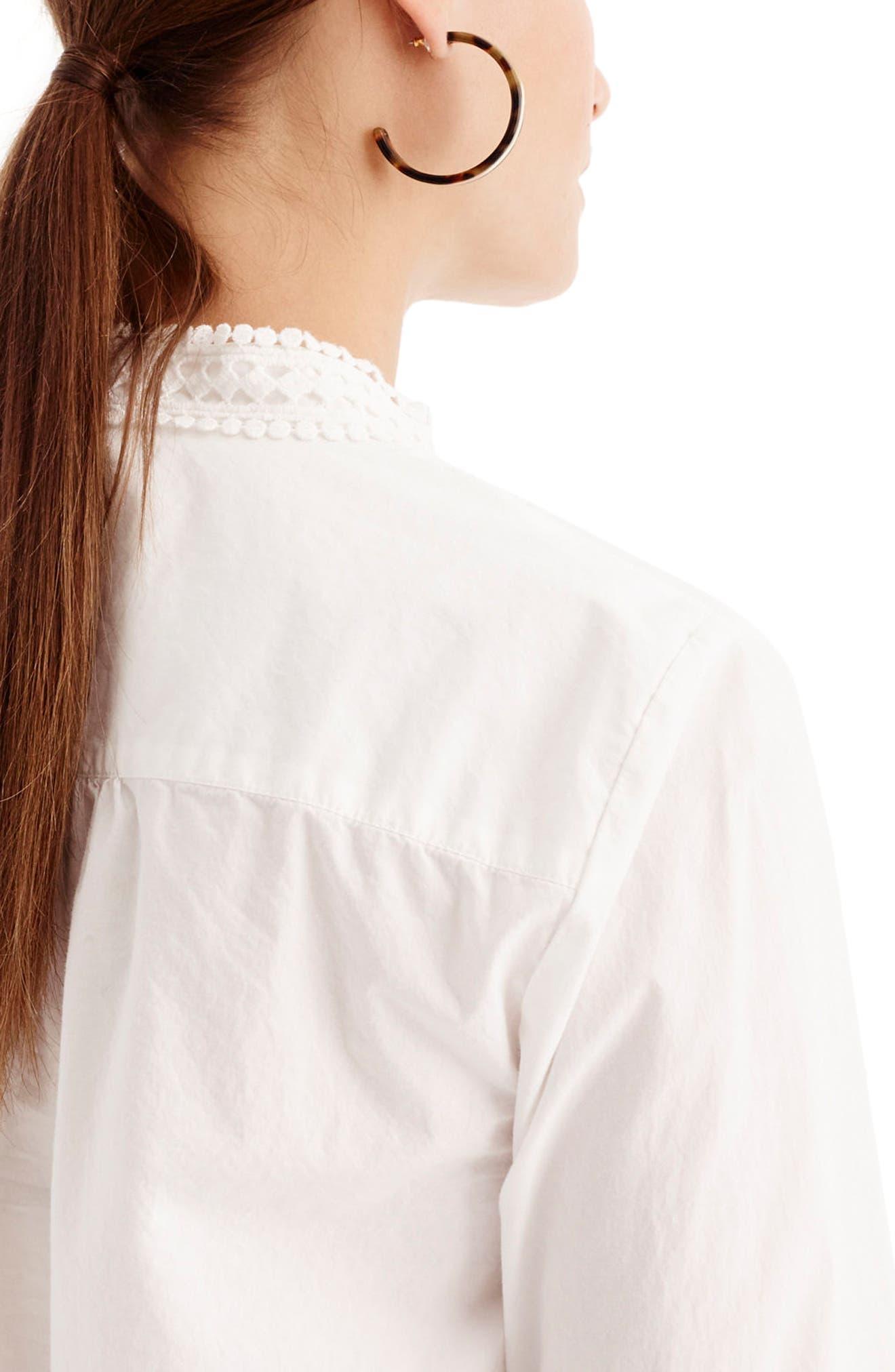 Lace Bib Popover Shirt,                             Alternate thumbnail 2, color,                             100