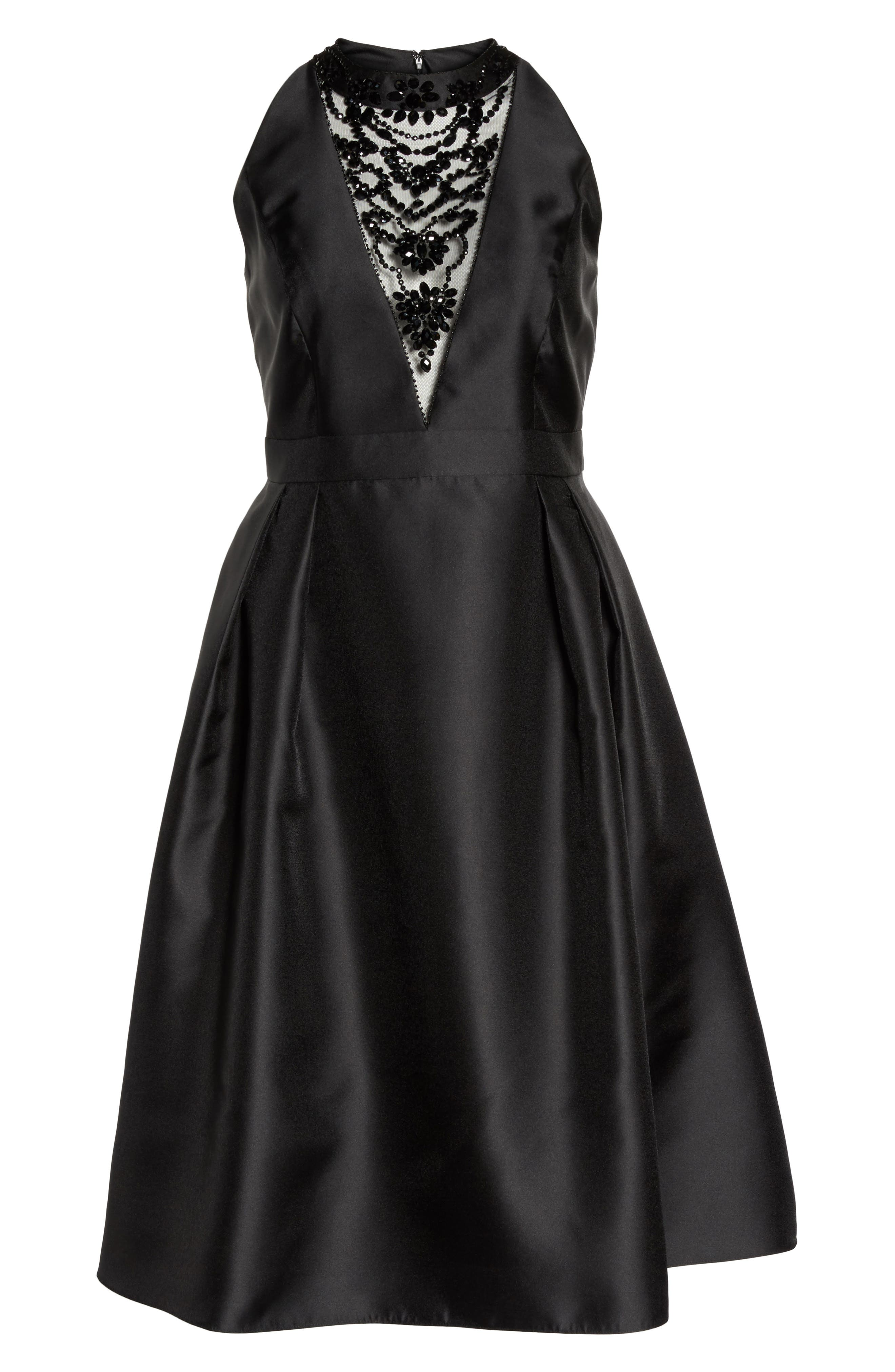 Adriana Papell Beaded Fit & Flare Dress,                             Alternate thumbnail 6, color,                             002