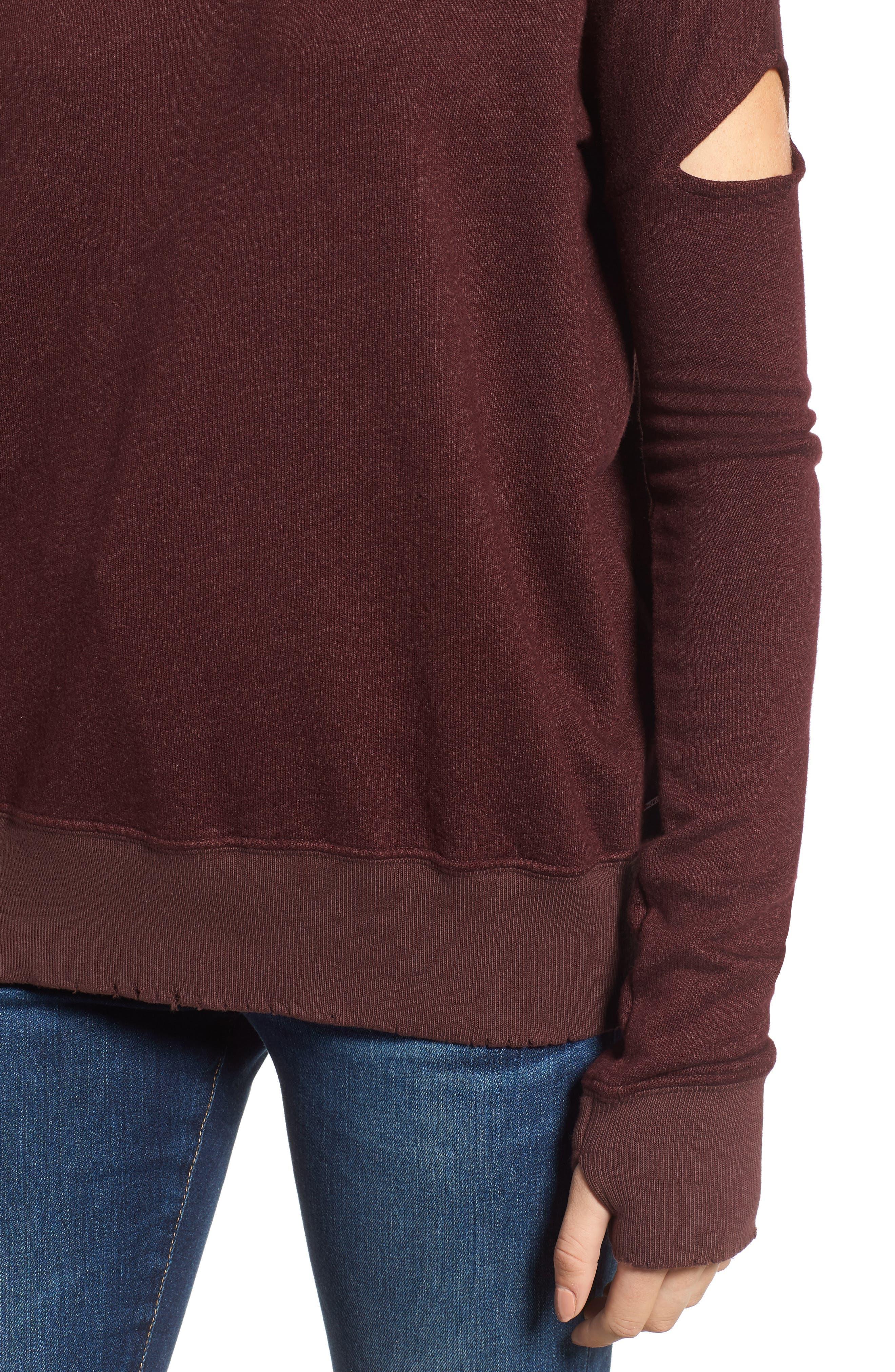 Sedro Arm Cutout Sweatshirt,                             Alternate thumbnail 4, color,                             WINETASTING