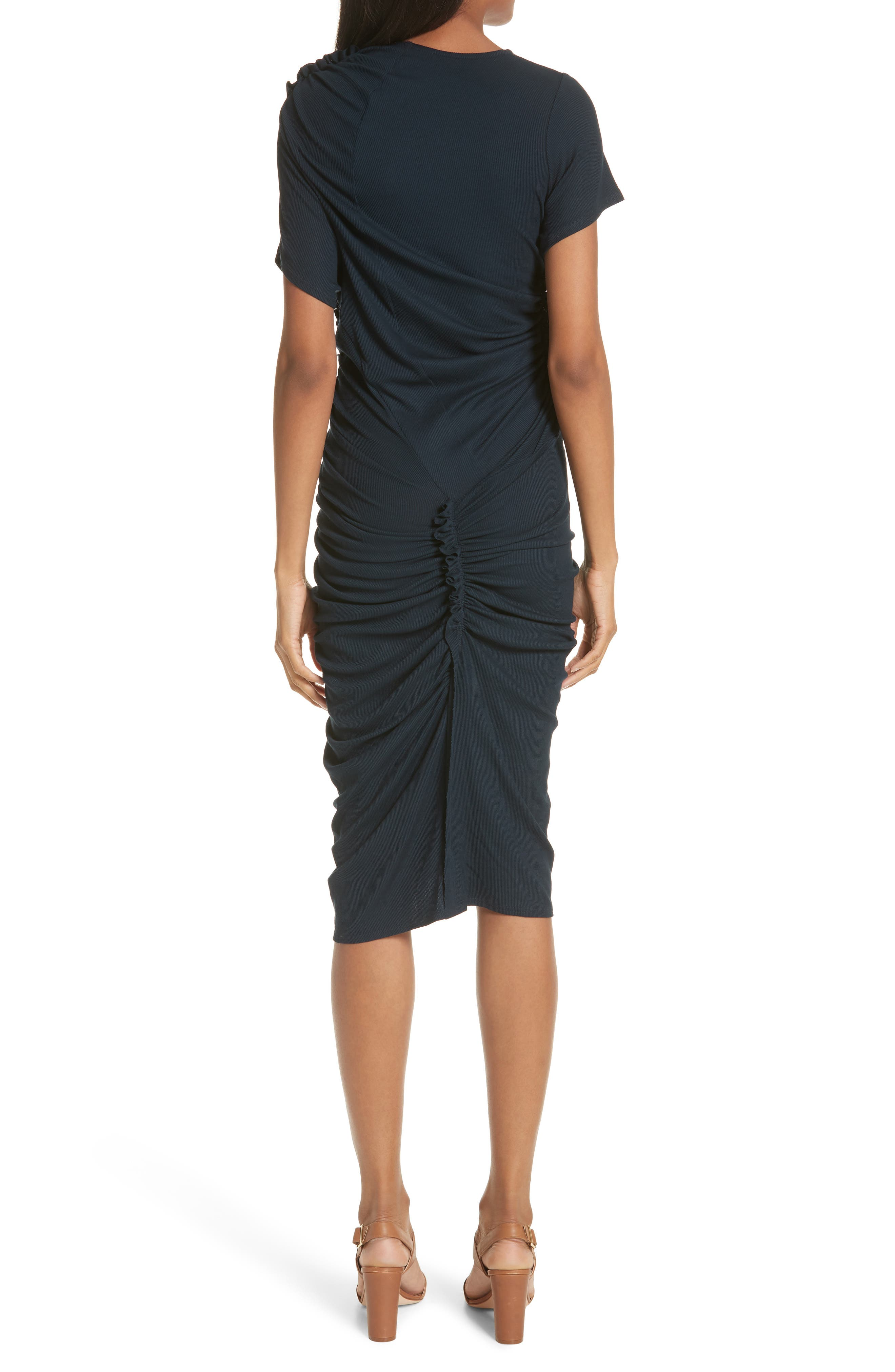 Ruched Rib Knit Dress,                             Alternate thumbnail 2, color,