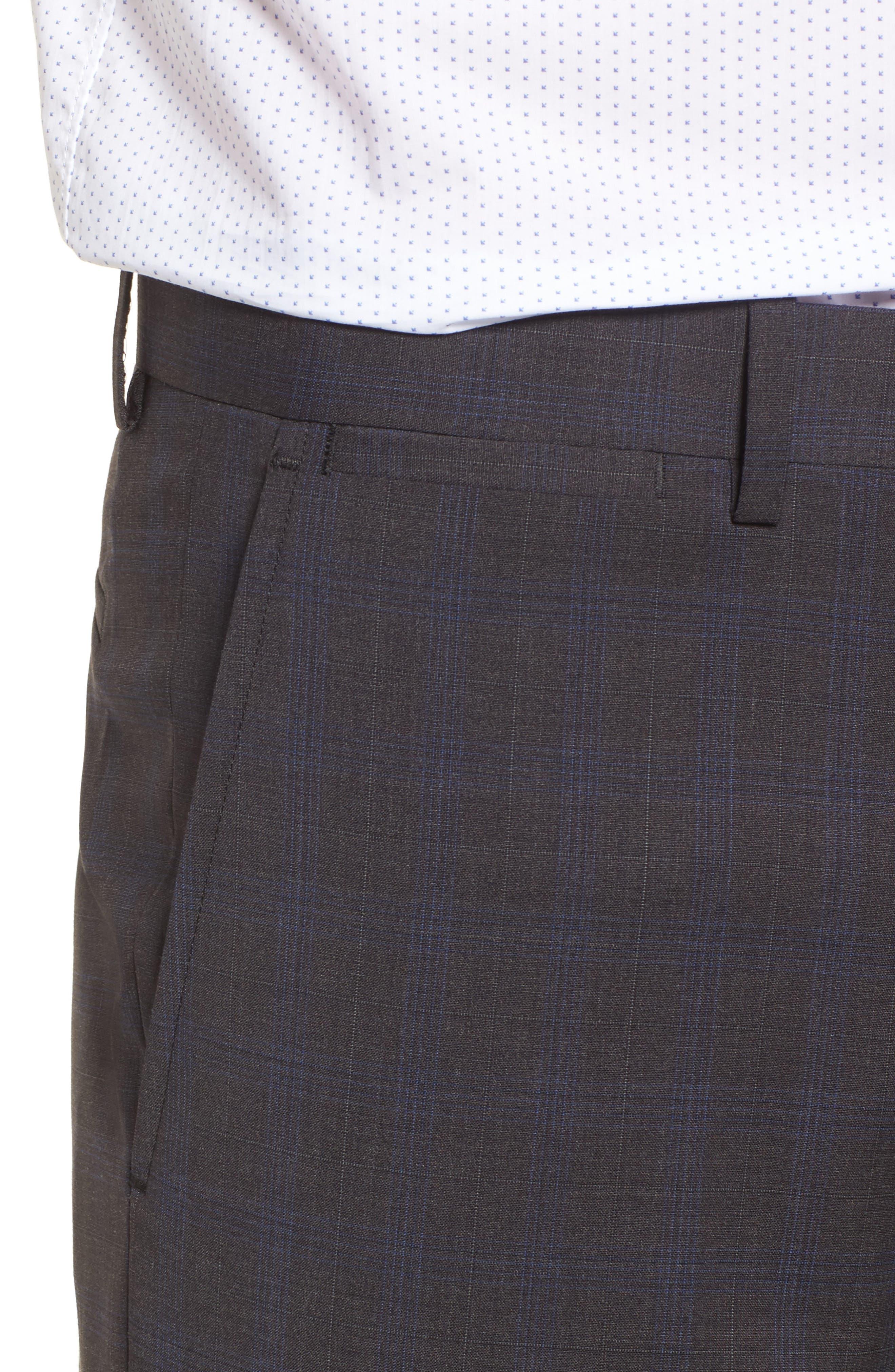 Marlo Trim Fit Tonal Plaid Trousers,                             Alternate thumbnail 4, color,                             053