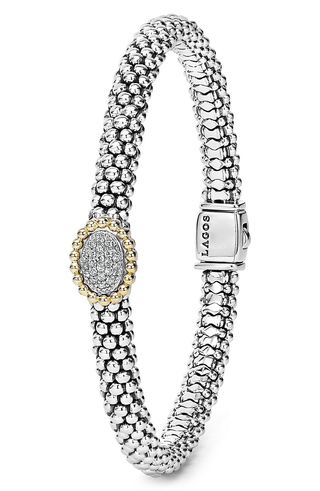 Diamond Caviar Oval Bracelet,                             Alternate thumbnail 2, color,                             040