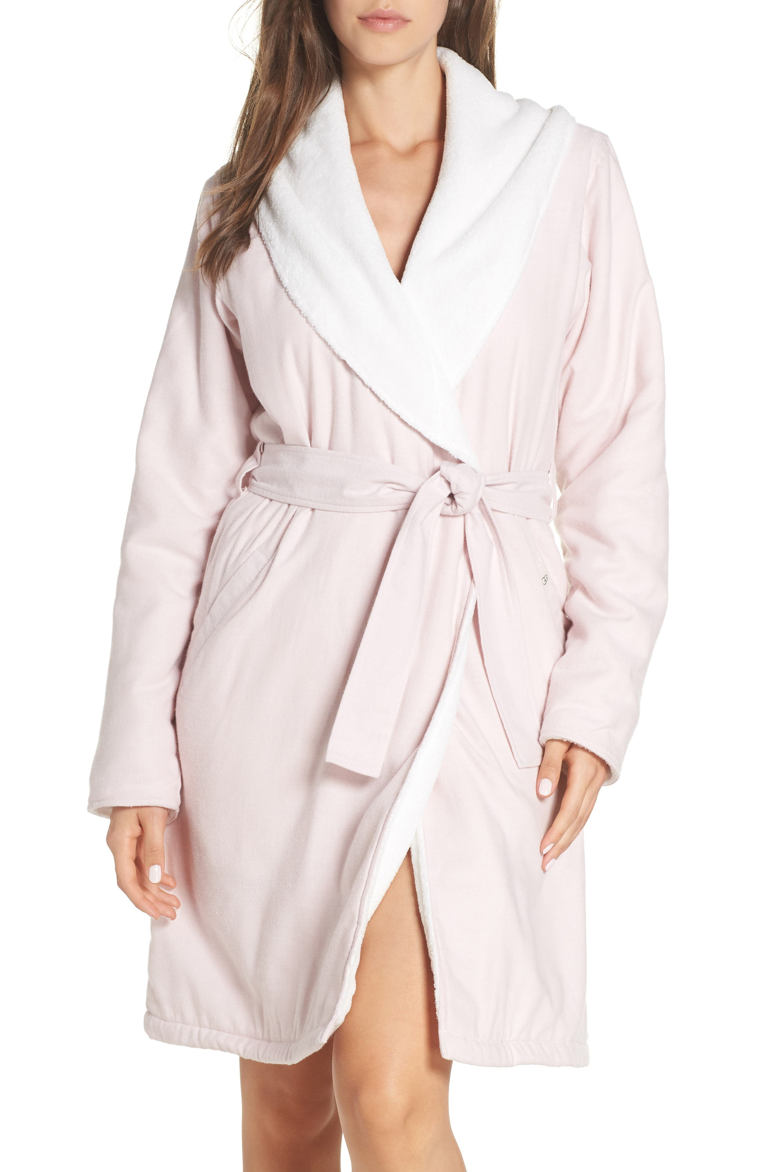 Anika Herringbone Fleece Robe,                         Main,                         color, STARLIGHT