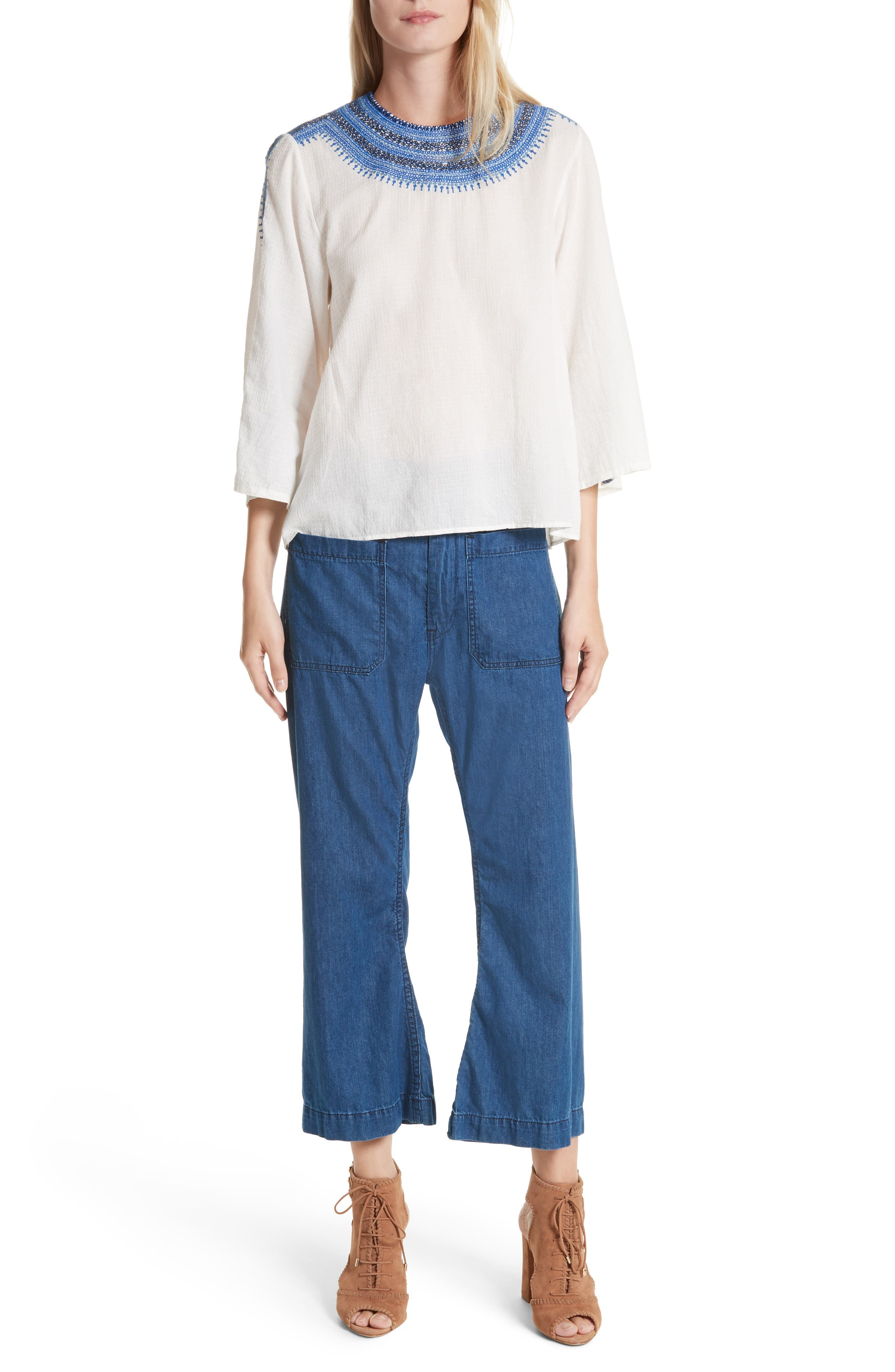 The Oasis Embroidered Top,                             Alternate thumbnail 7, color,