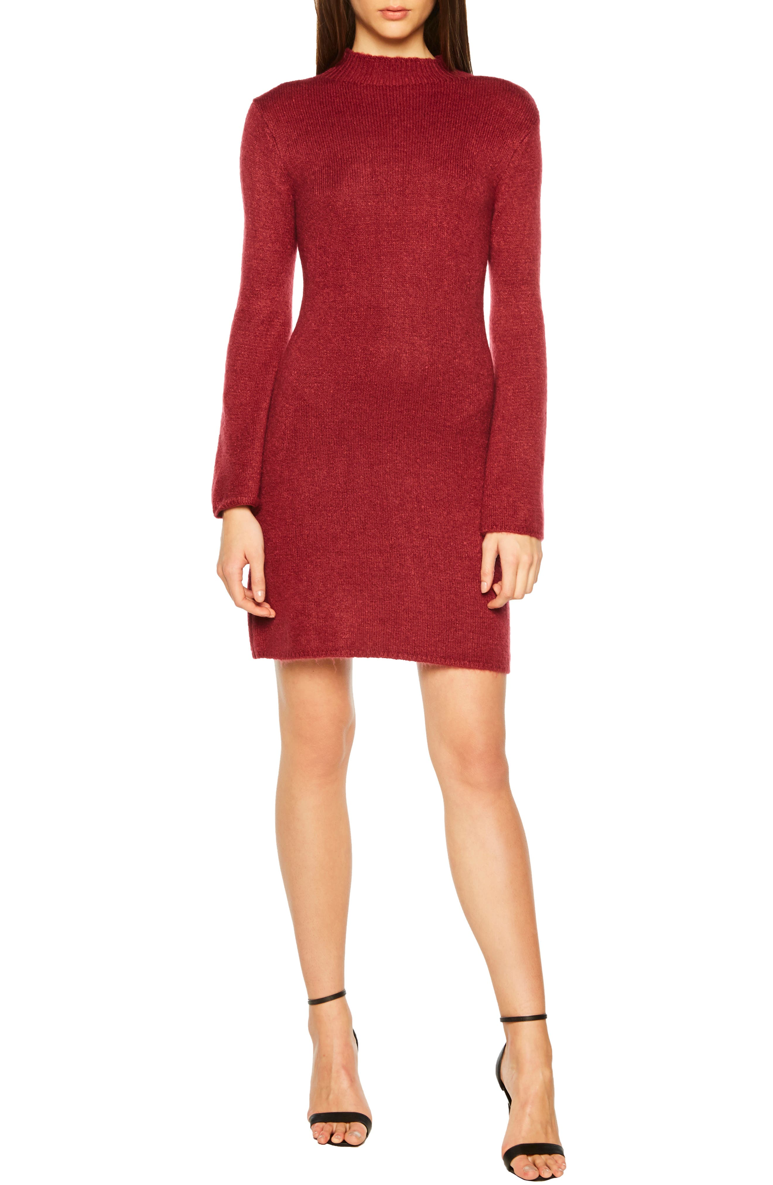 Bardot Tash Sweater Dress, Burgundy