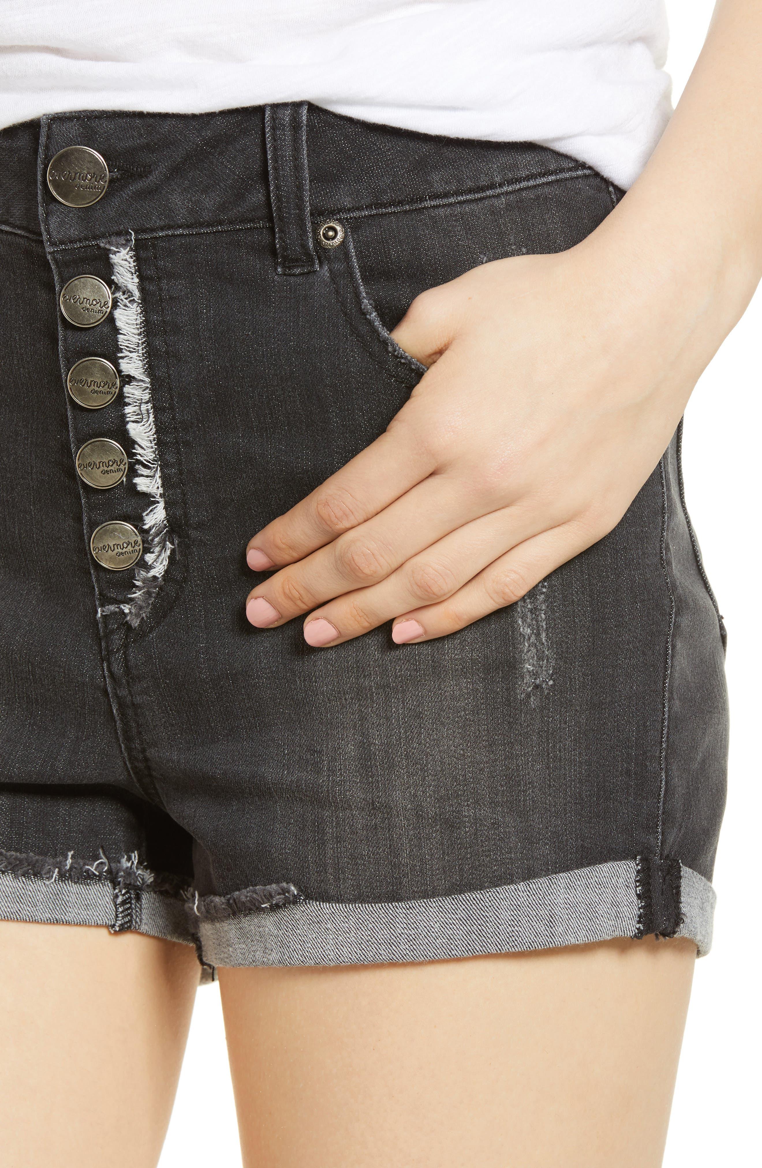 1822 DENIM,                             Cuffed Button Fly Denim Shorts,                             Alternate thumbnail 4, color,                             400