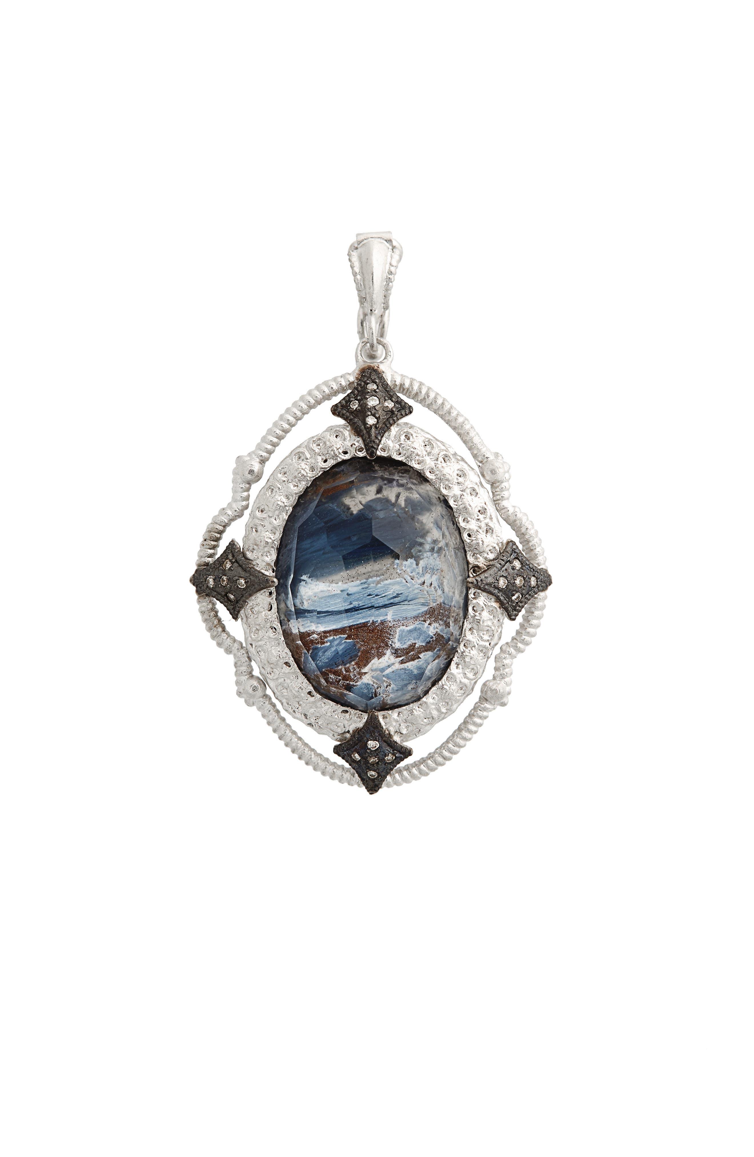 New World Semiprecious Stone & Diamond Oval Pendant,                         Main,                         color,