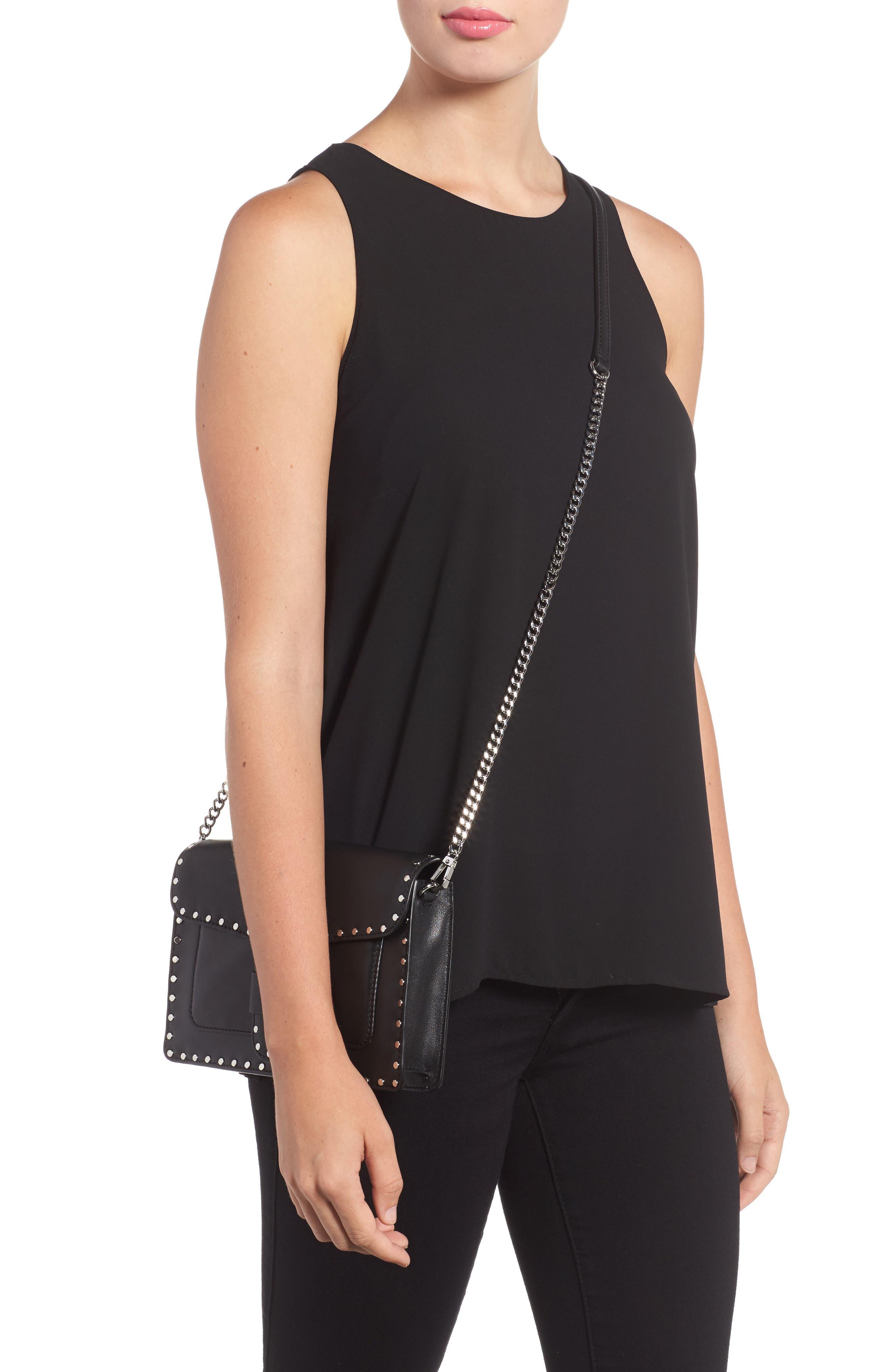 Medium Midnighter Leather Crossbody Bag,                             Alternate thumbnail 2, color,                             001