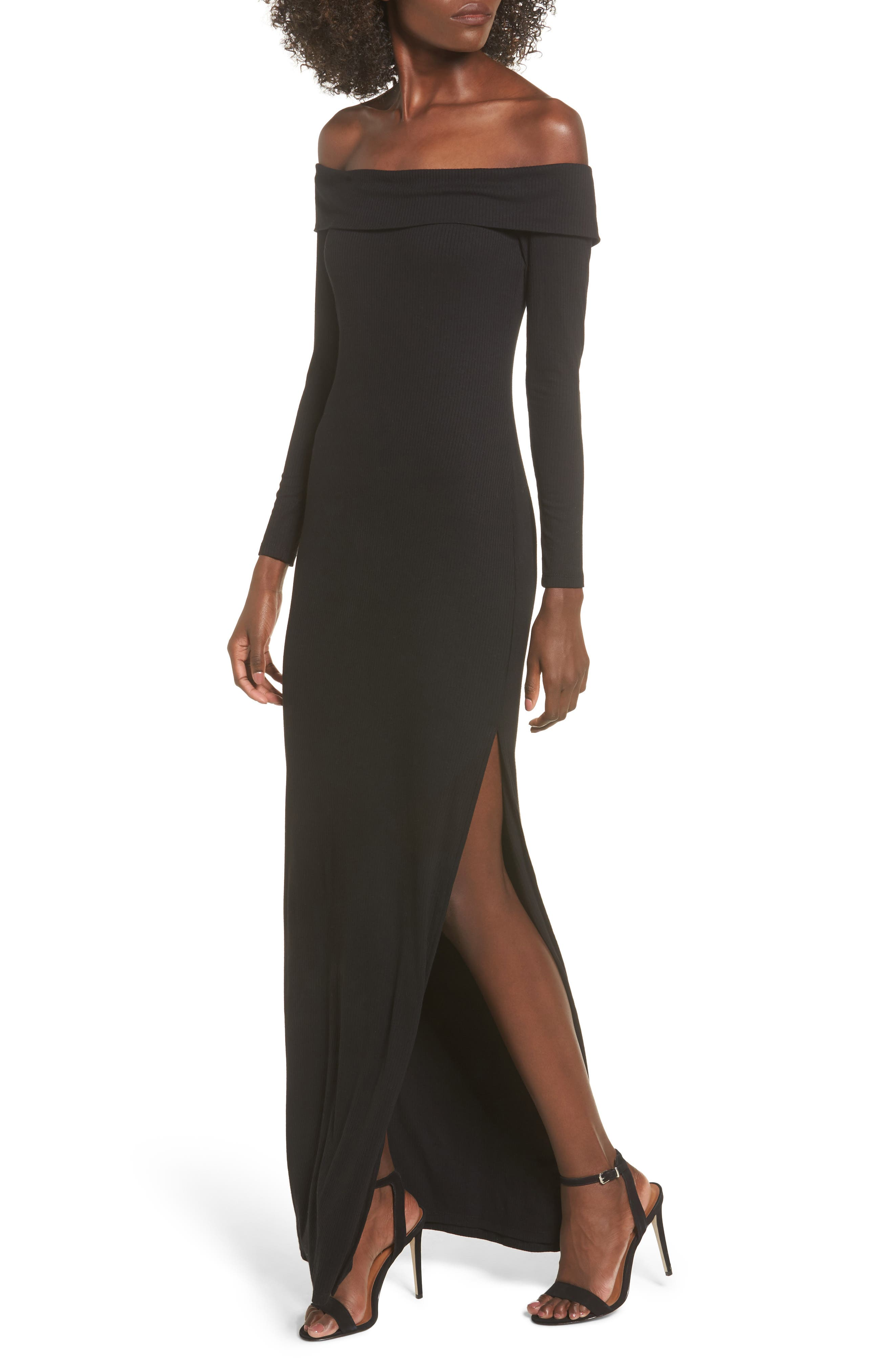 Royale Off the Shoulder Maxi Dress,                             Main thumbnail 1, color,                             001