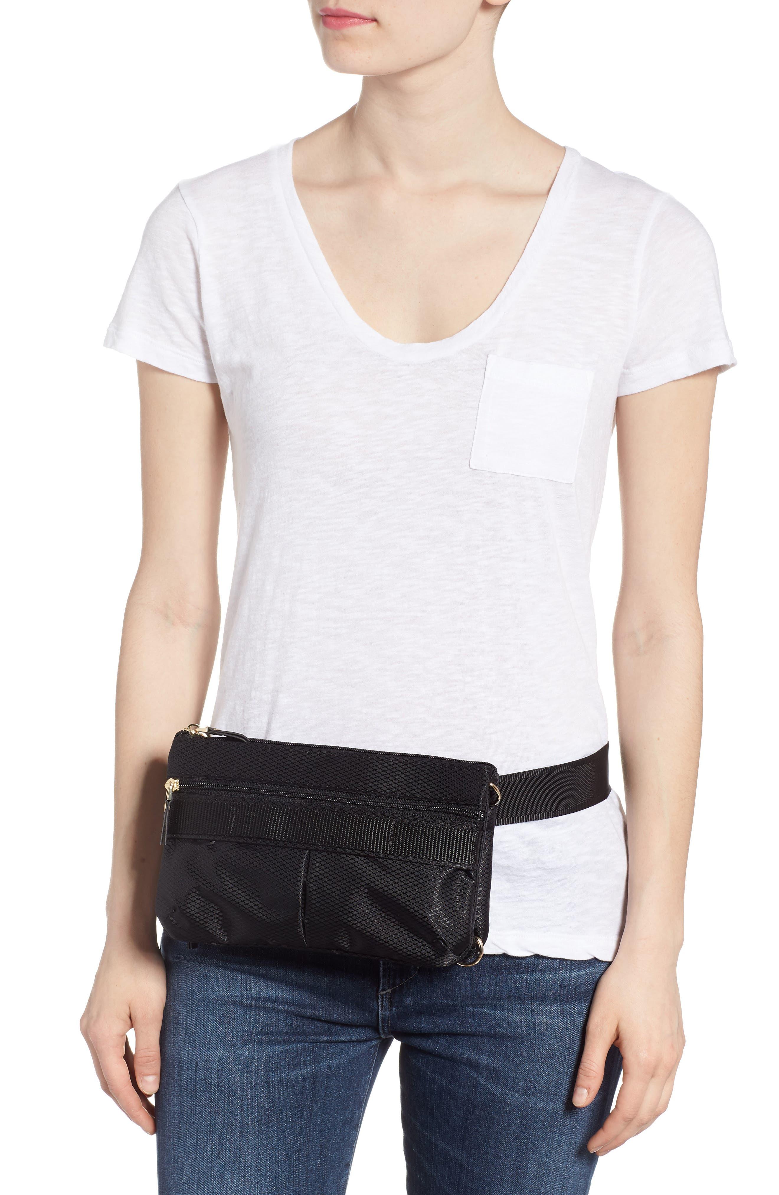 Go Black Expandable Belt Bag,                             Alternate thumbnail 2, color,                             BLACK