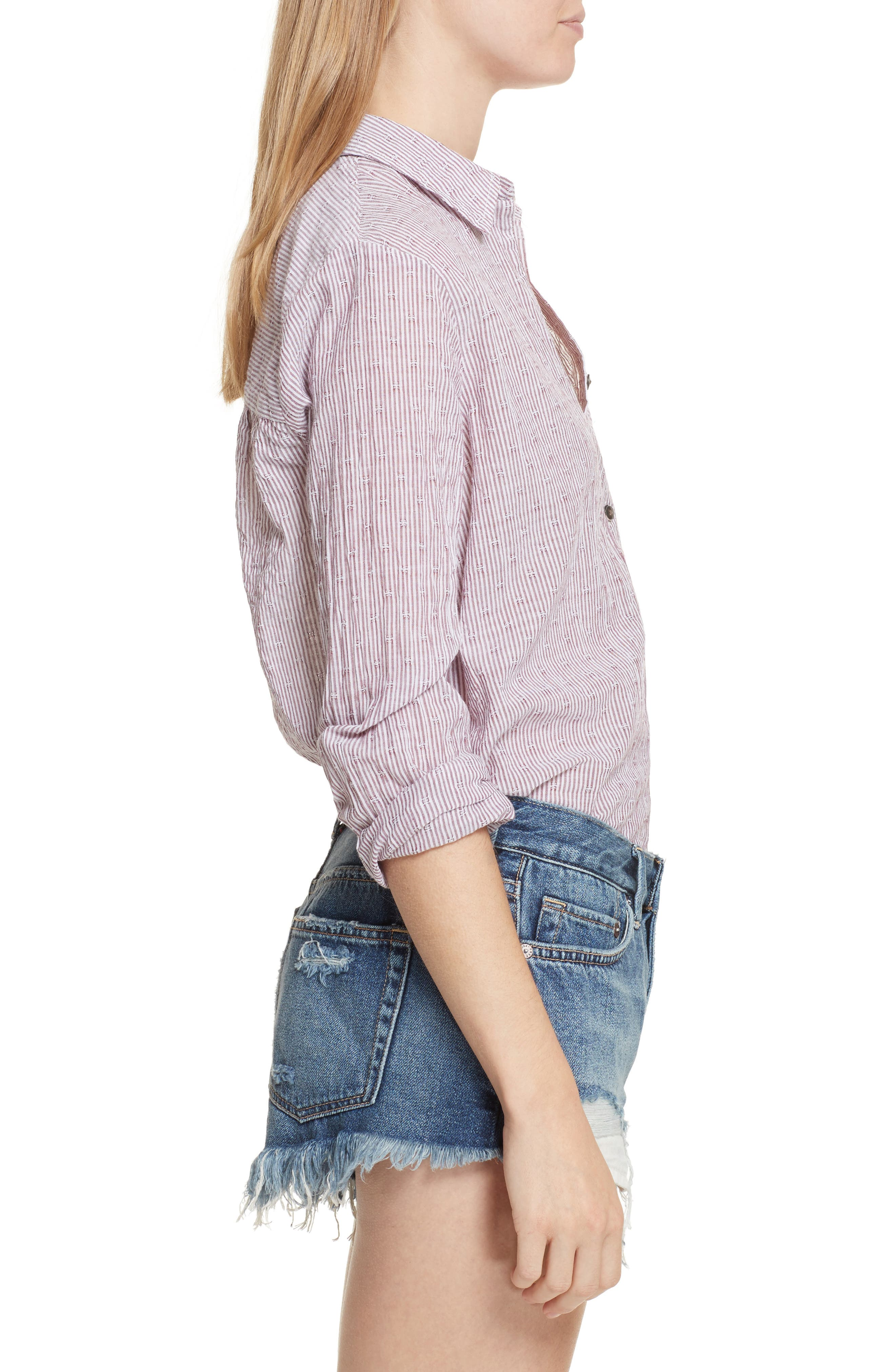 No Limits Stripe Stretch Cotton Shirt,                             Alternate thumbnail 6, color,