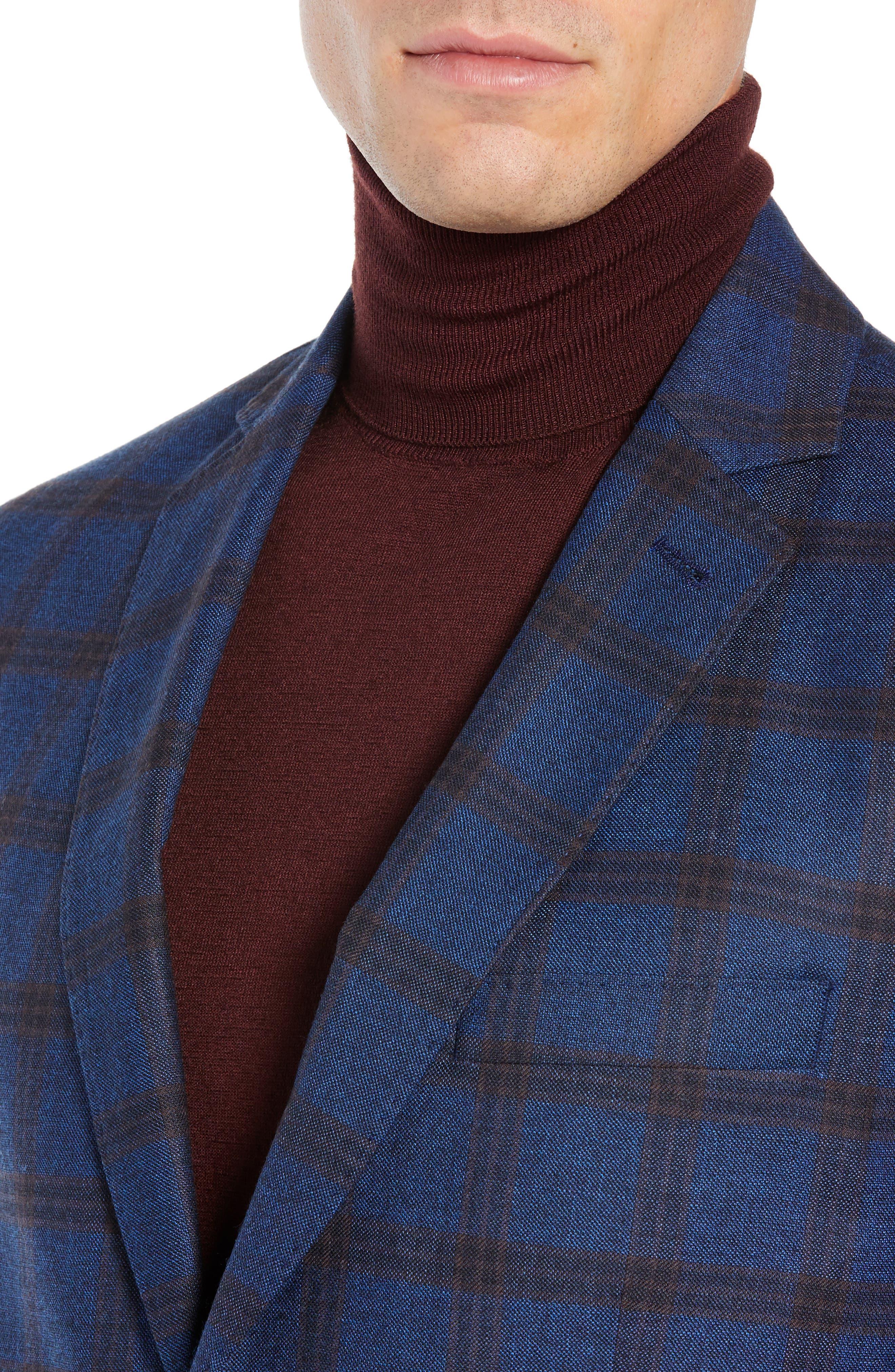 Regular Fit Windowpane Wool Sport Coat,                             Alternate thumbnail 4, color,                             BLUE