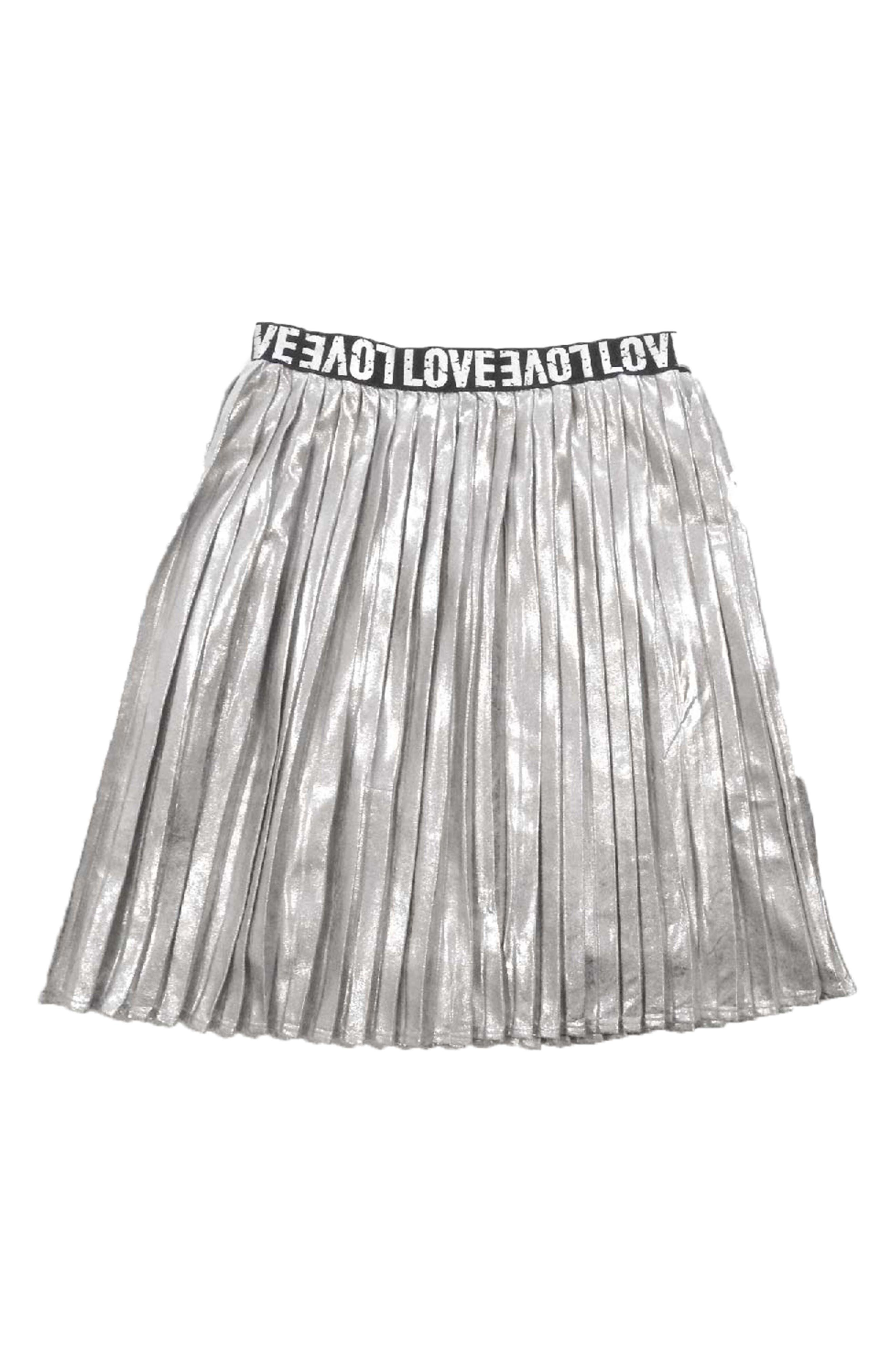 Pleated Metallic Skirt,                             Main thumbnail 1, color,                             040