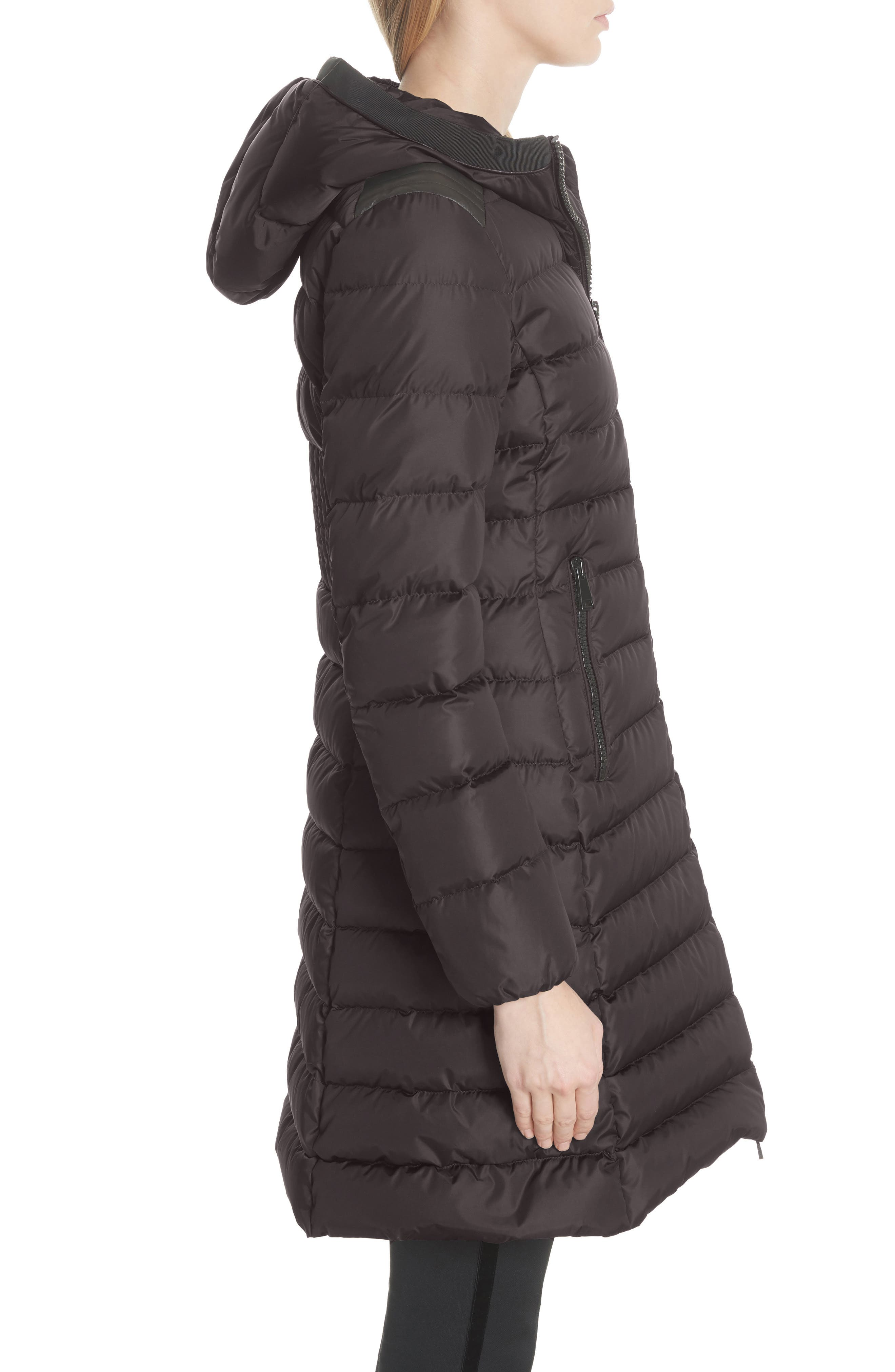 Taleve Hooded Quilted Down Coat,                             Alternate thumbnail 3, color,                             GREY