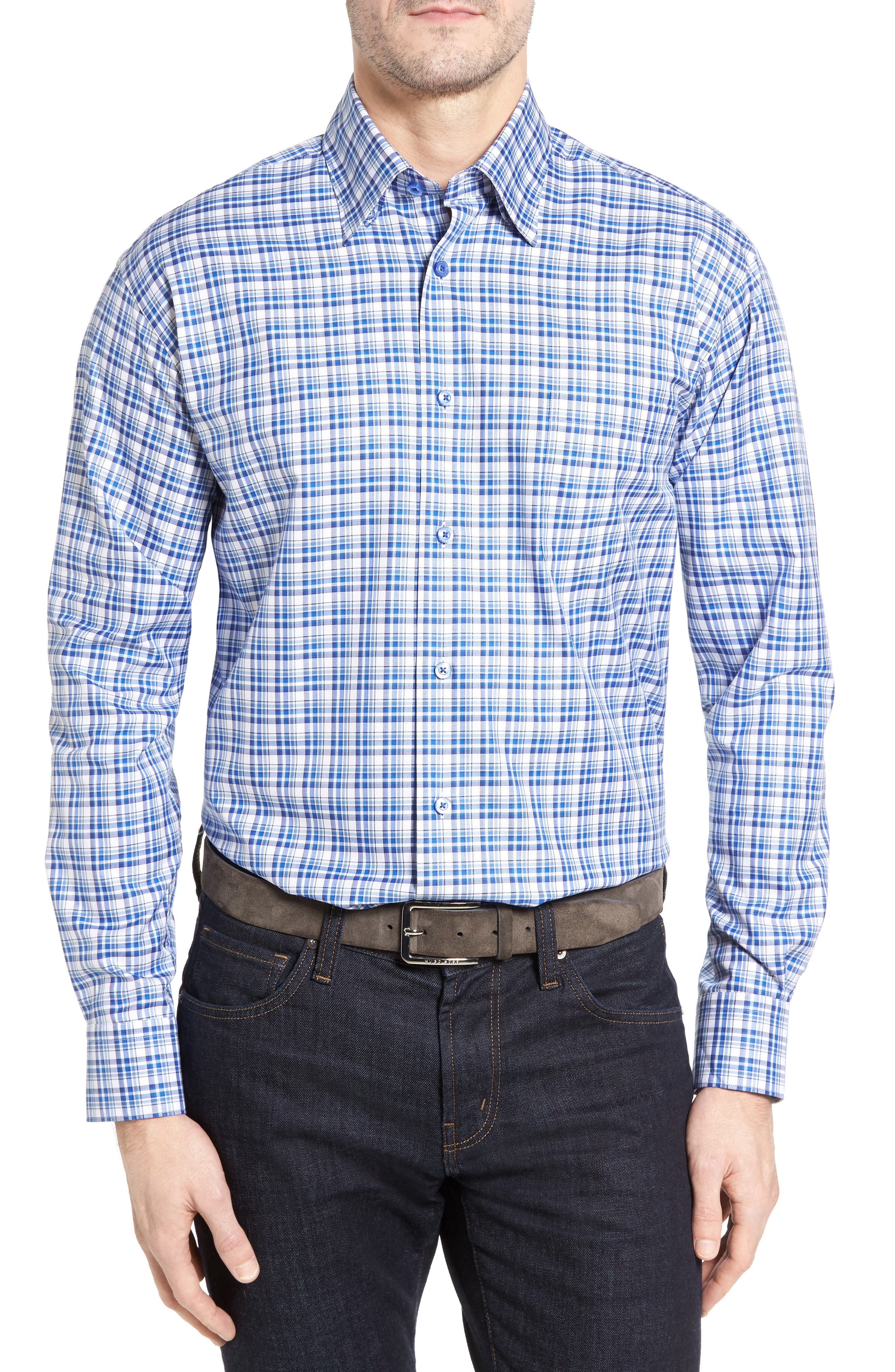 Anderson Classic Fit Plaid Micro Twill Sport Shirt,                             Main thumbnail 1, color,                             417