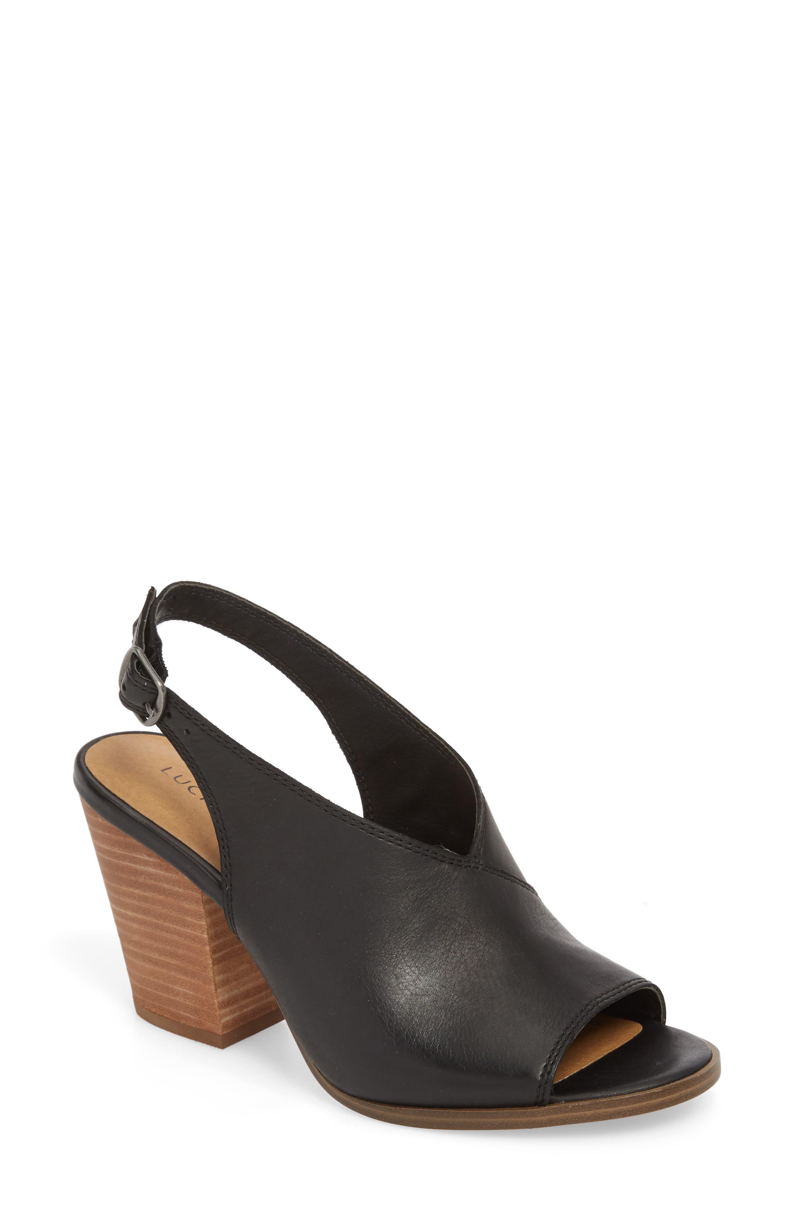 Ovrandie Sandal,                         Main,                         color, BLACK LEATHER