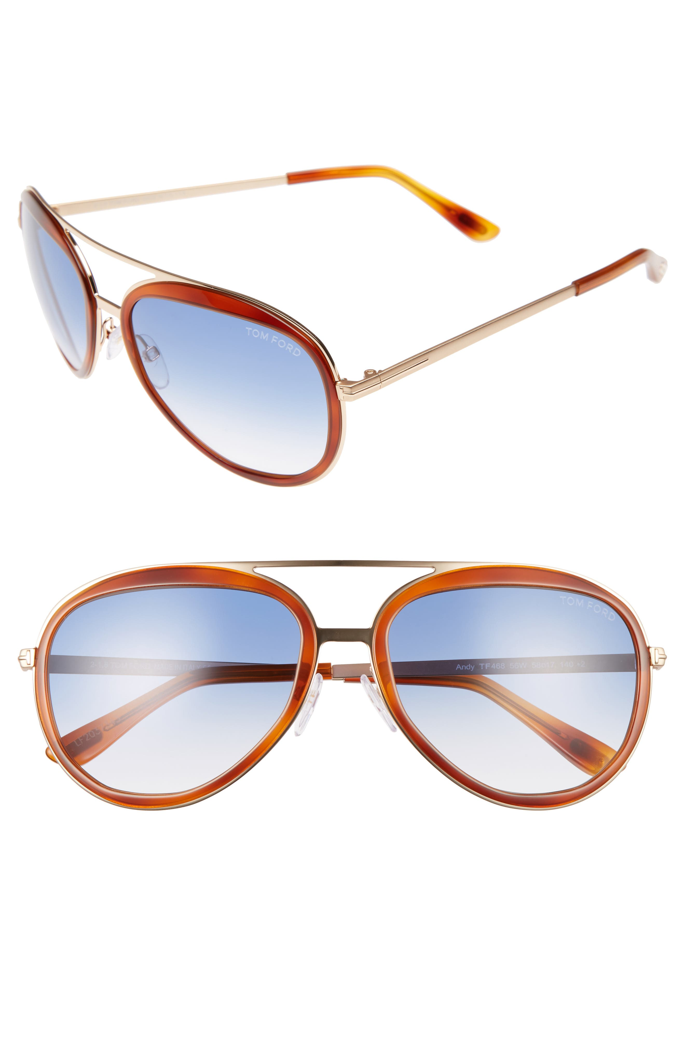 Andy 58mm Aviator Sunglasses,                             Main thumbnail 3, color,