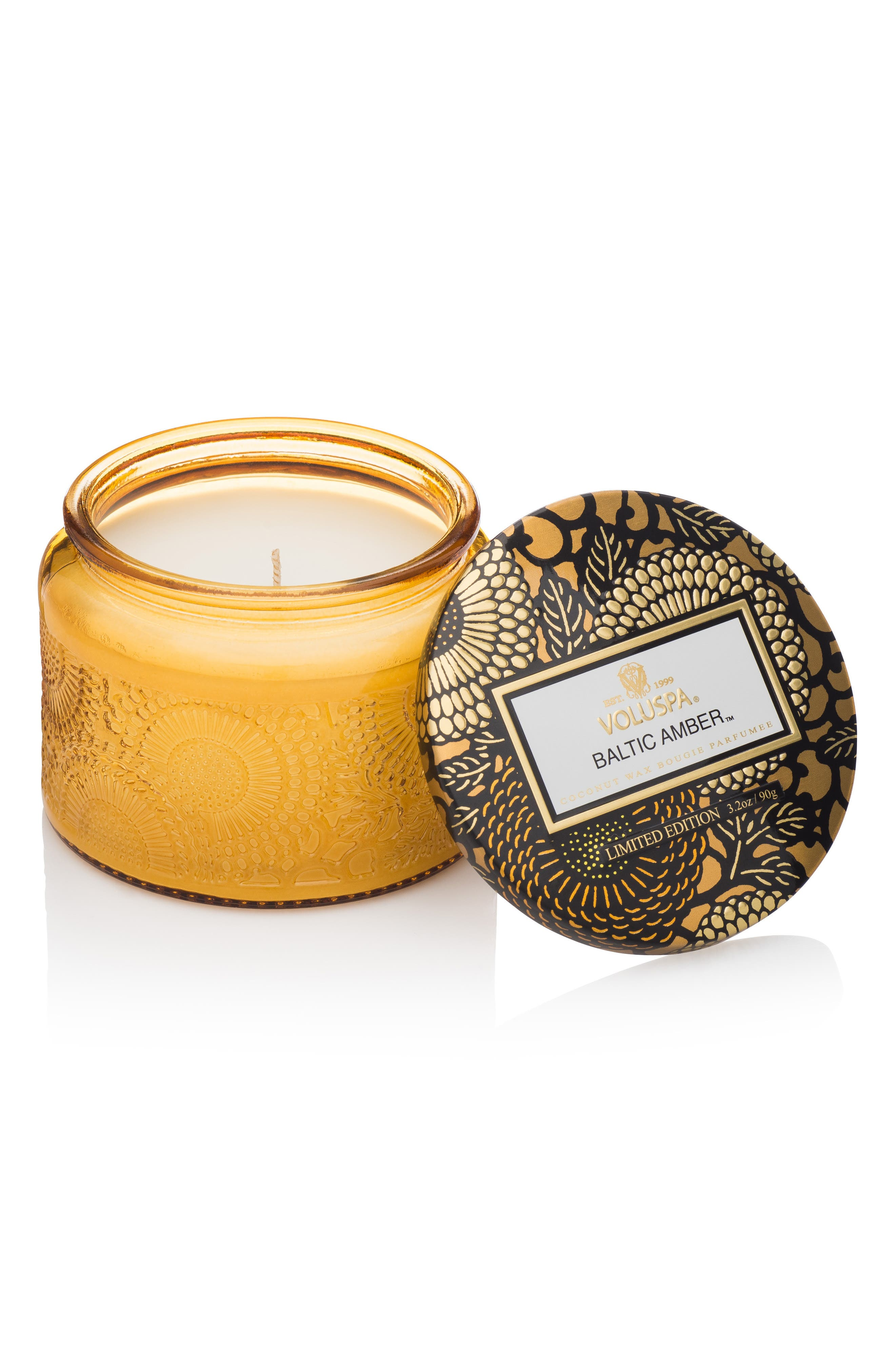 Japonica Petite Embossed Glass Jar Candle,                             Main thumbnail 1, color,                             BALTIC AMBER