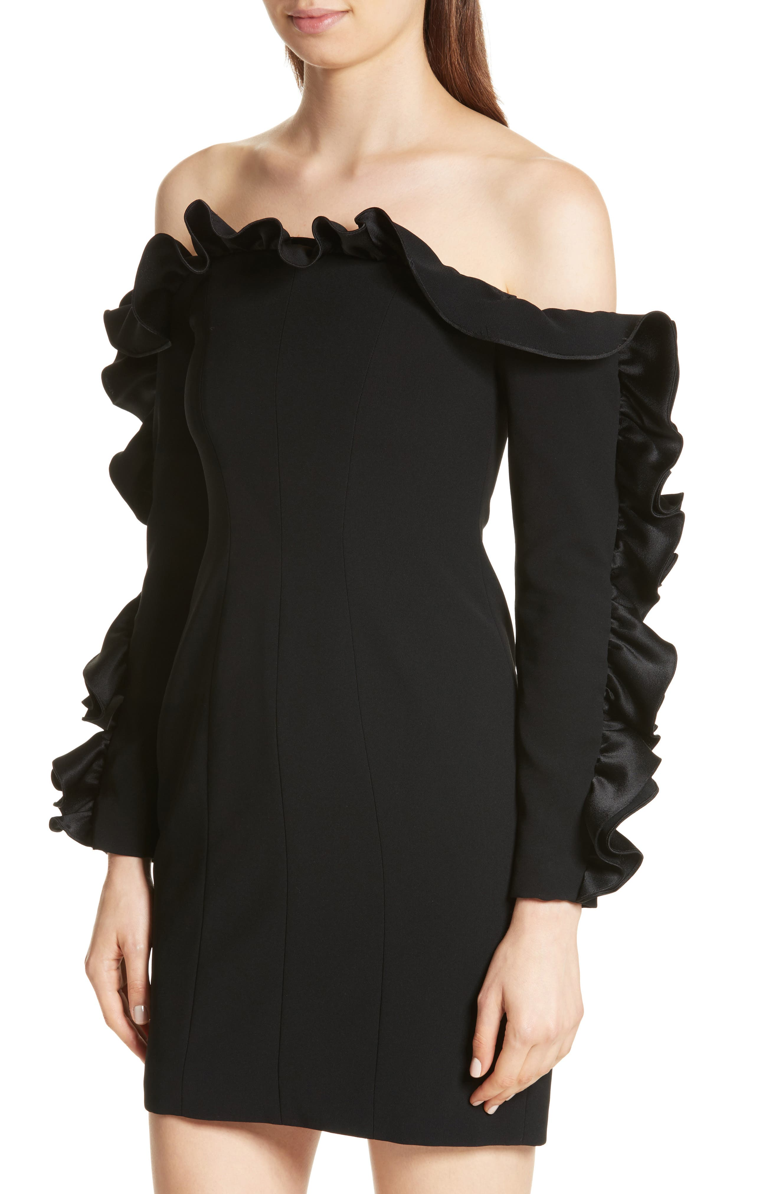 Rosemarie Ruffle Off the Shoulder Dress,                             Alternate thumbnail 4, color,                             001
