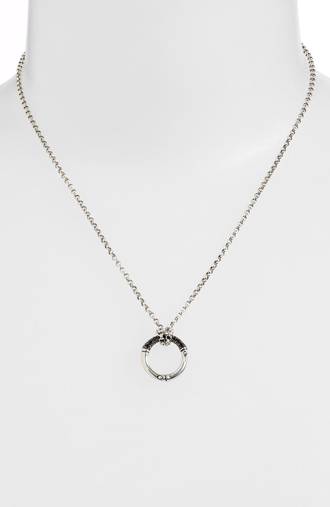 'Bamboo - Lava' Circle Pendant Necklace,                             Alternate thumbnail 2, color,                             SILVER/ BLACK SAPPHIRE