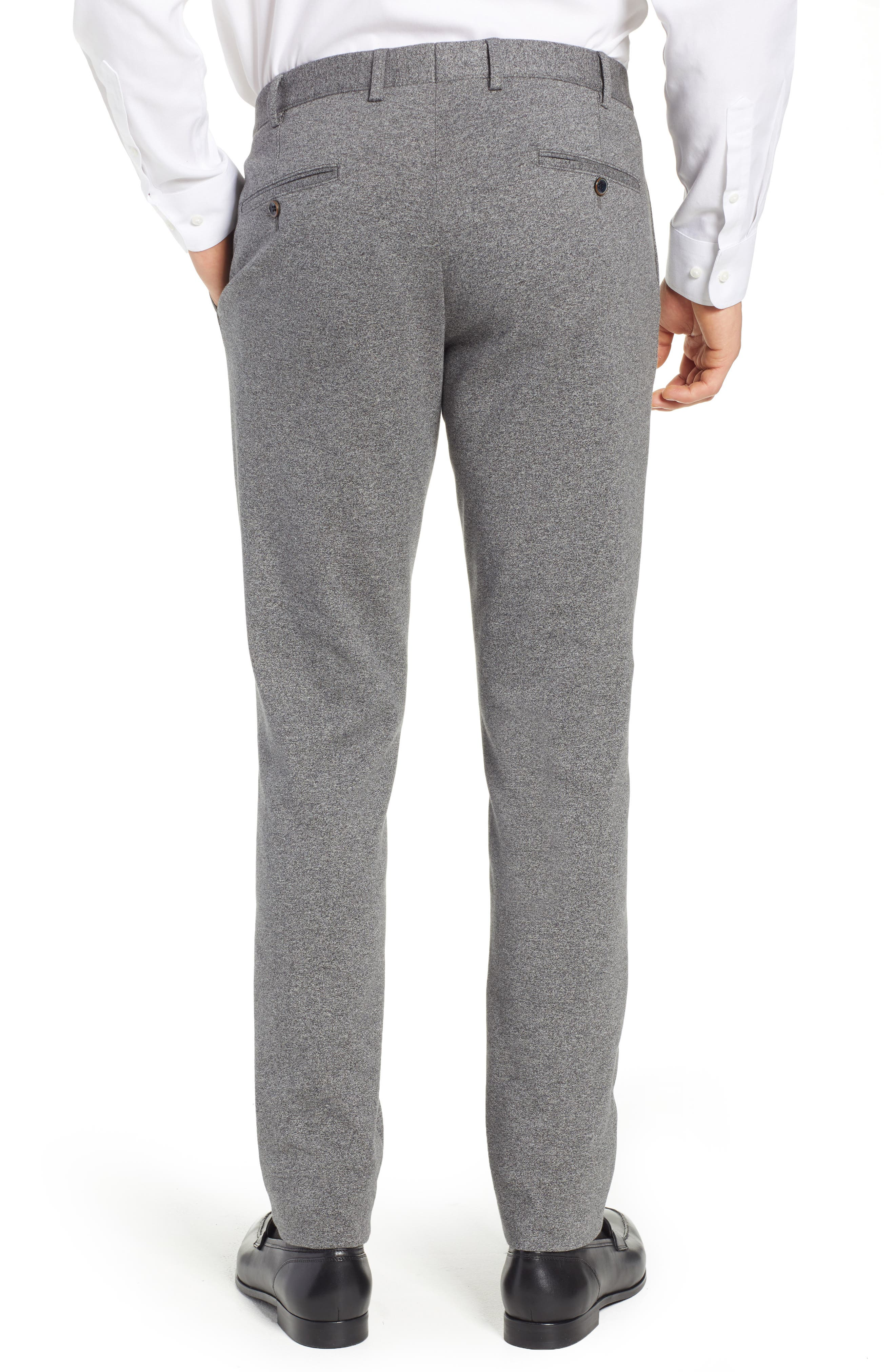 Tero Trim Fit Flat Front Solid Cotton Trousers,                             Alternate thumbnail 2, color,                             GREY