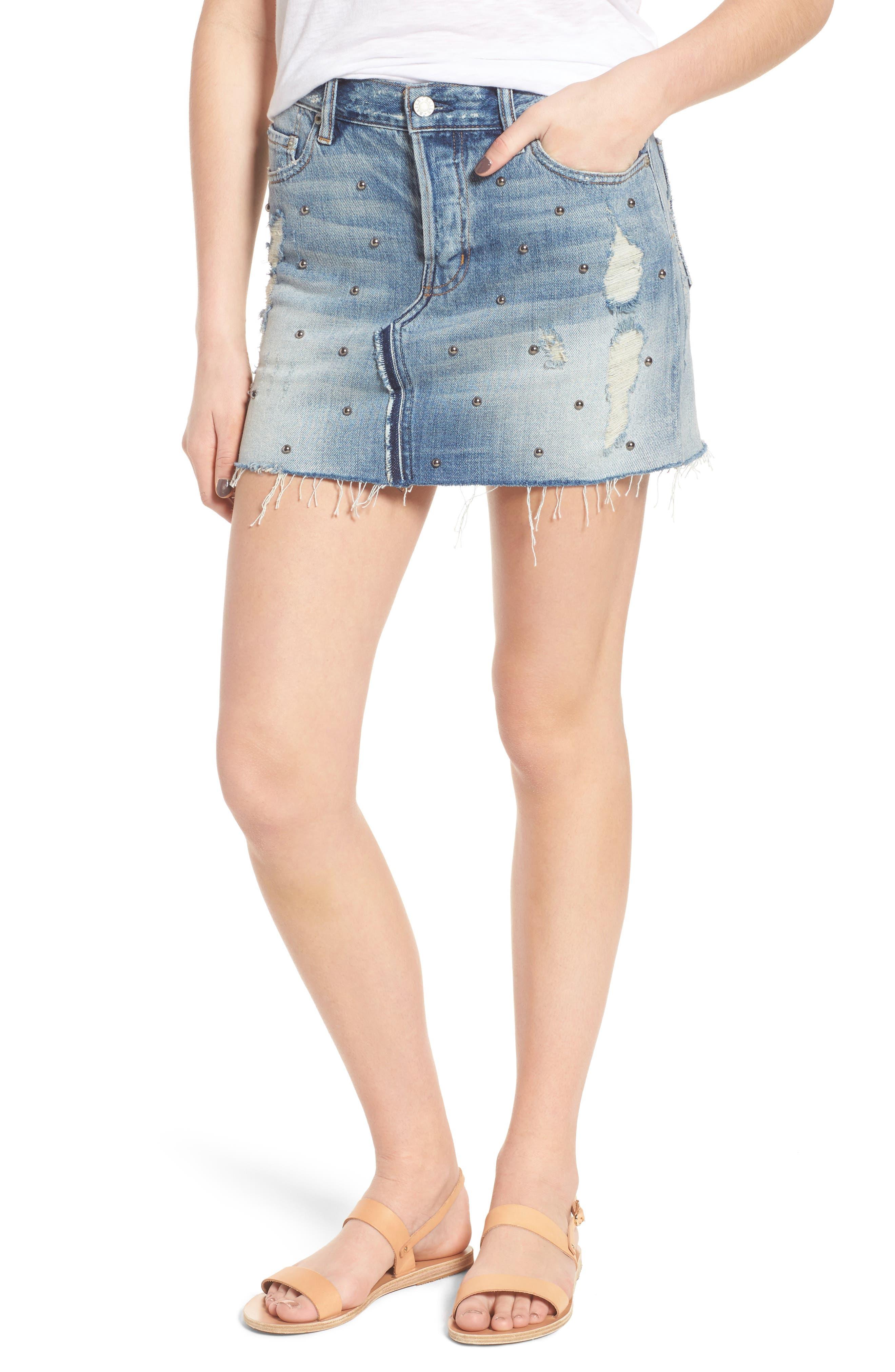 Wynonna Studded Cutoff Denim Miniskirt,                             Main thumbnail 1, color,                             MED VINTAGE ALL OVER STUDDED
