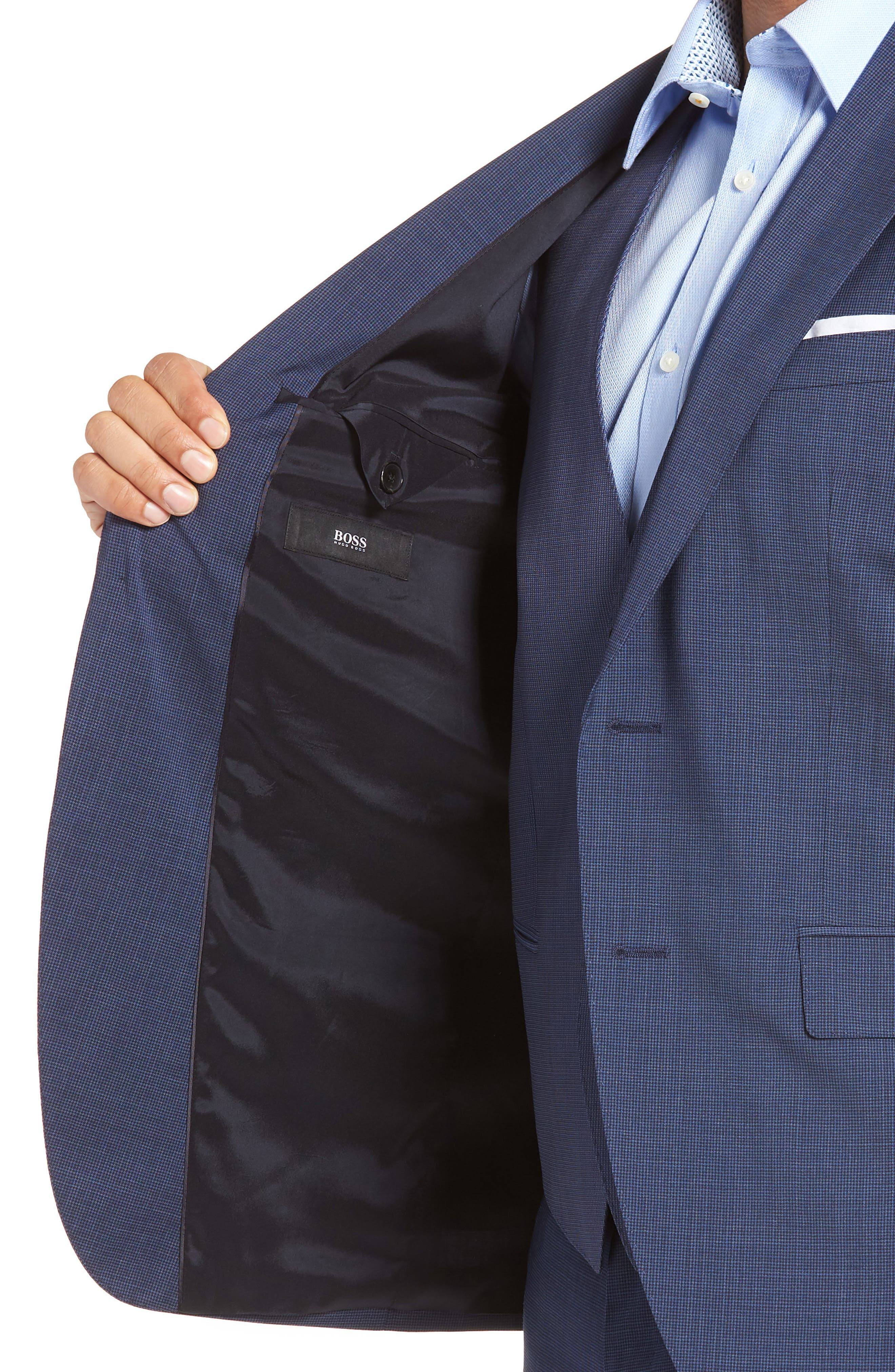 Johnstons/Lenon Classic Fit Houndstooth Wool Suit,                             Alternate thumbnail 5, color,                             BLUE