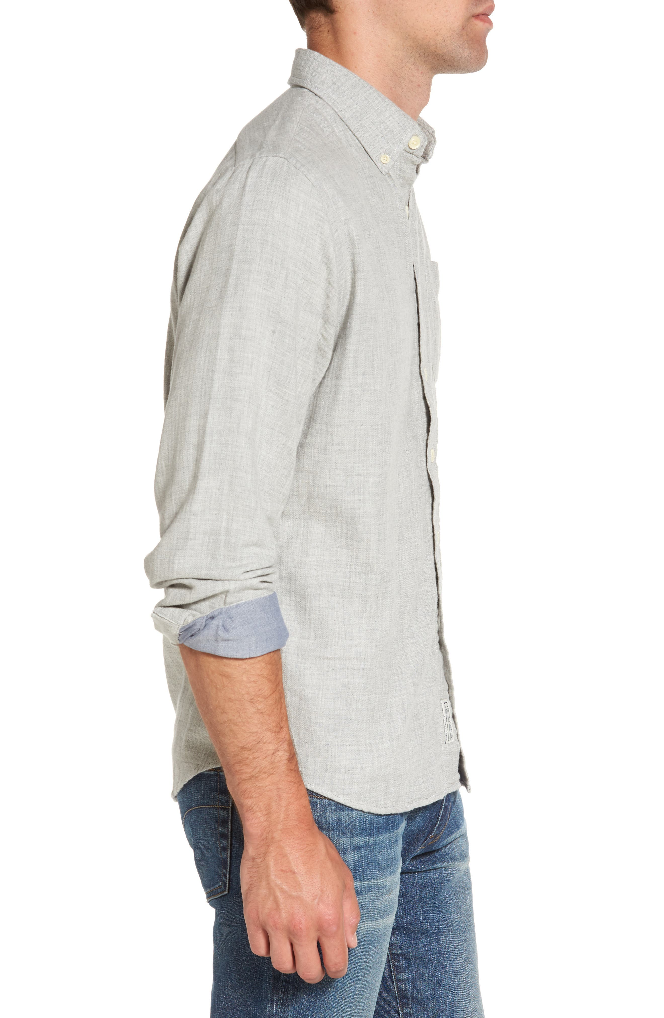 Chester Modern Fit Double Cloth Herringbone Sport Shirt,                             Alternate thumbnail 3, color,                             088