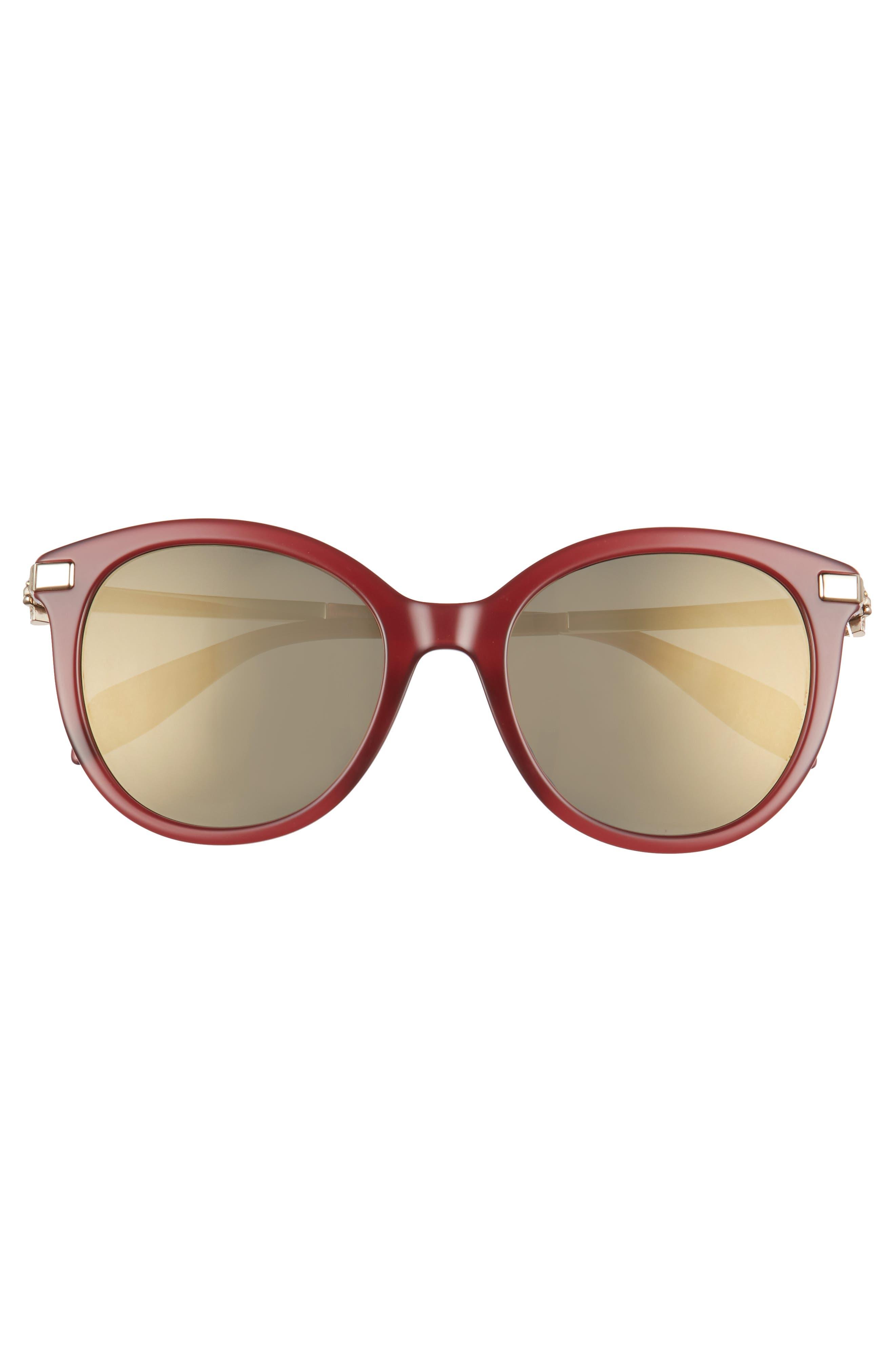 53mm Rounded Cat Eye Sunglasses,                             Alternate thumbnail 3, color,                             BURGUNDY