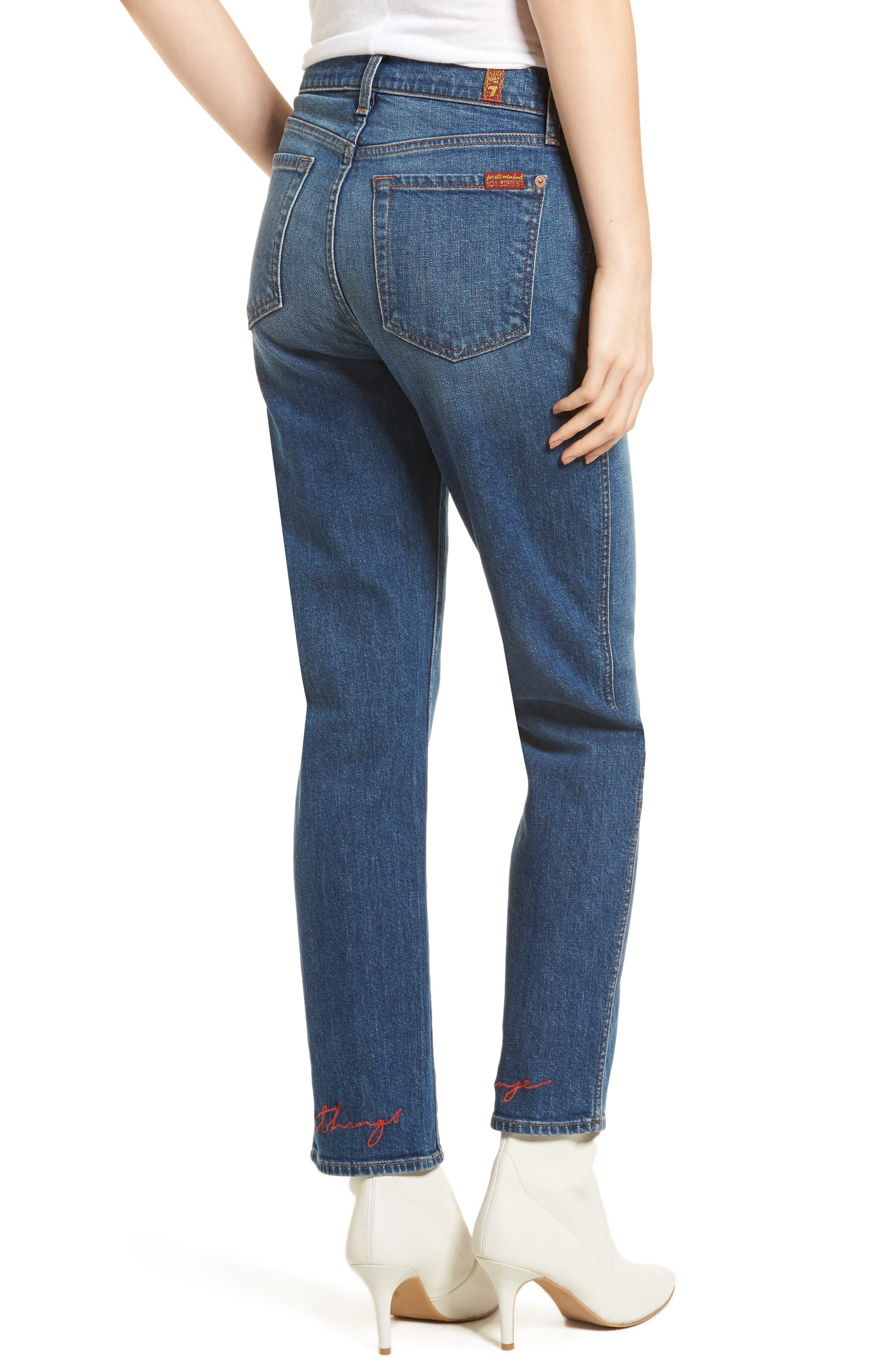 Edie High Waist Crop Straight Leg Jeans,                             Alternate thumbnail 9, color,