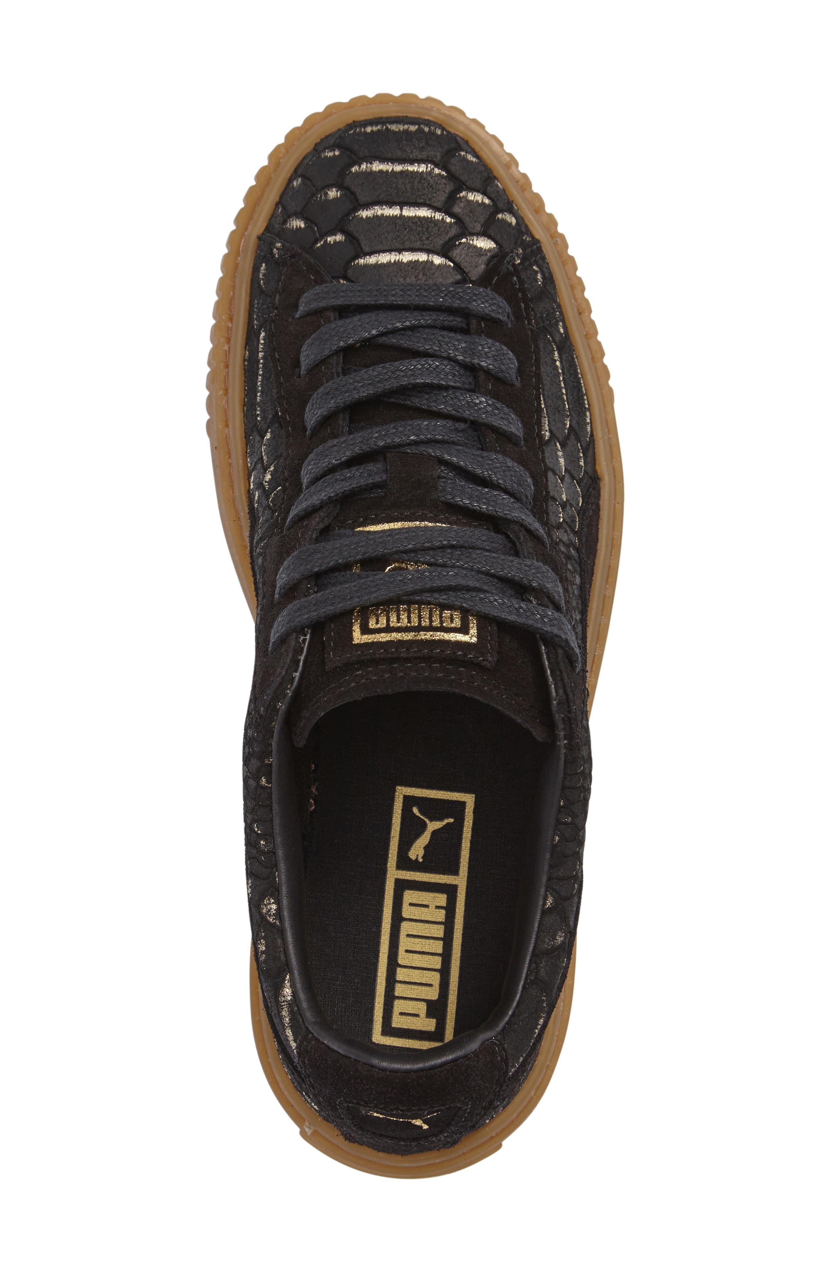 Exotic Skin Platform Sneaker,                             Alternate thumbnail 3, color,                             001