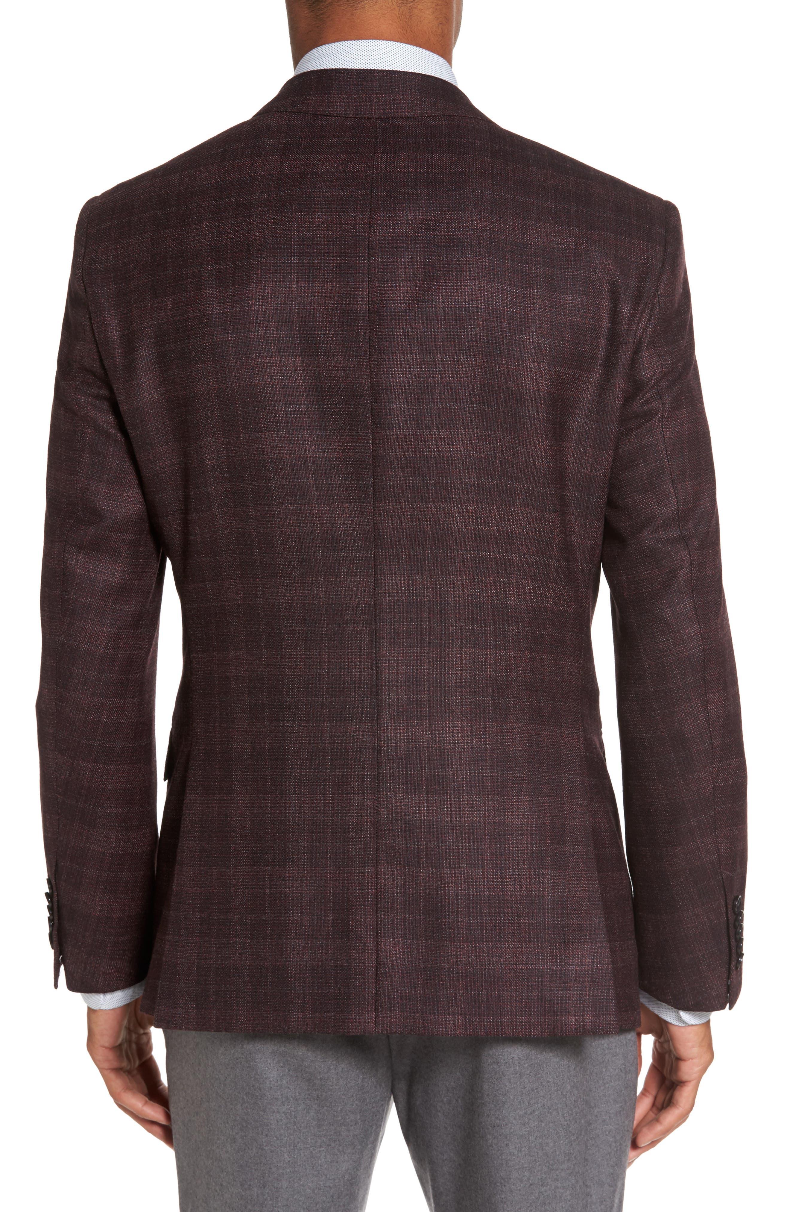 T-Heel Trim Fit Plaid Wool & Silk Sport Coat,                             Alternate thumbnail 2, color,                             606