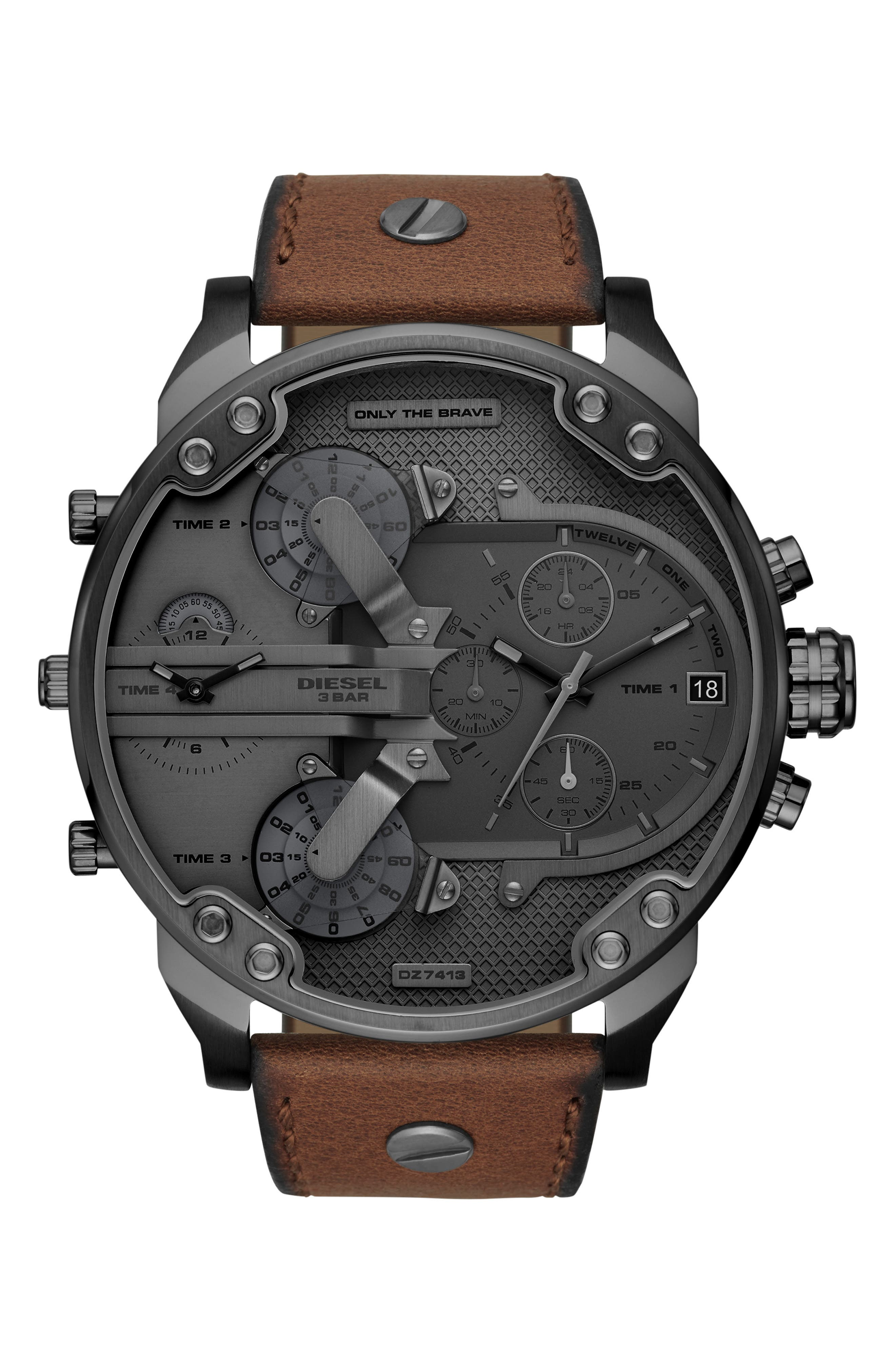 Mr. Daddy 2.0 Chronograph Leather Strap Watch, 57mm,                         Main,                         color, BROWN