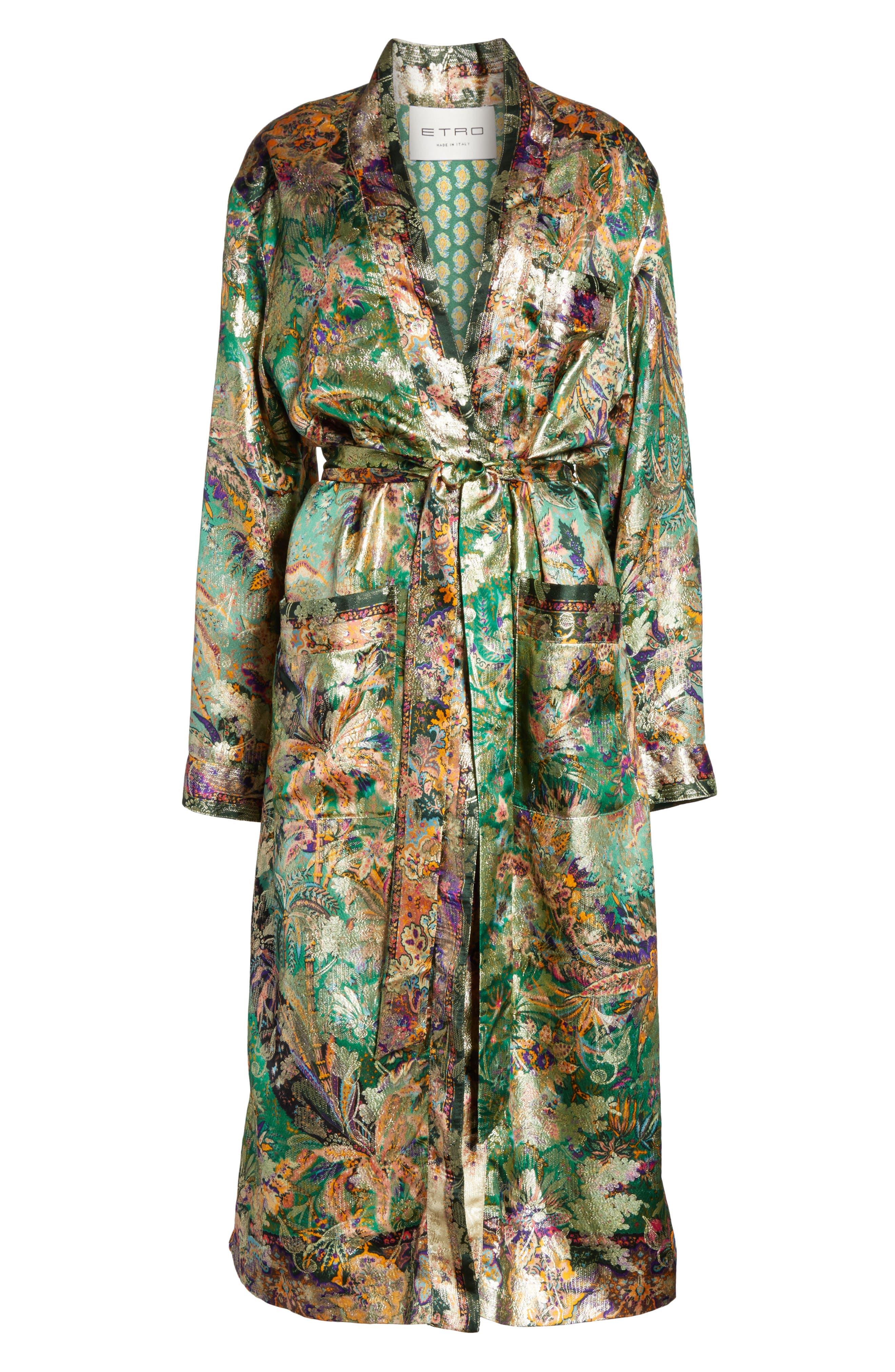 Tie Waist Silk Blend Metallic Jacquard Jacket,                             Alternate thumbnail 5, color,