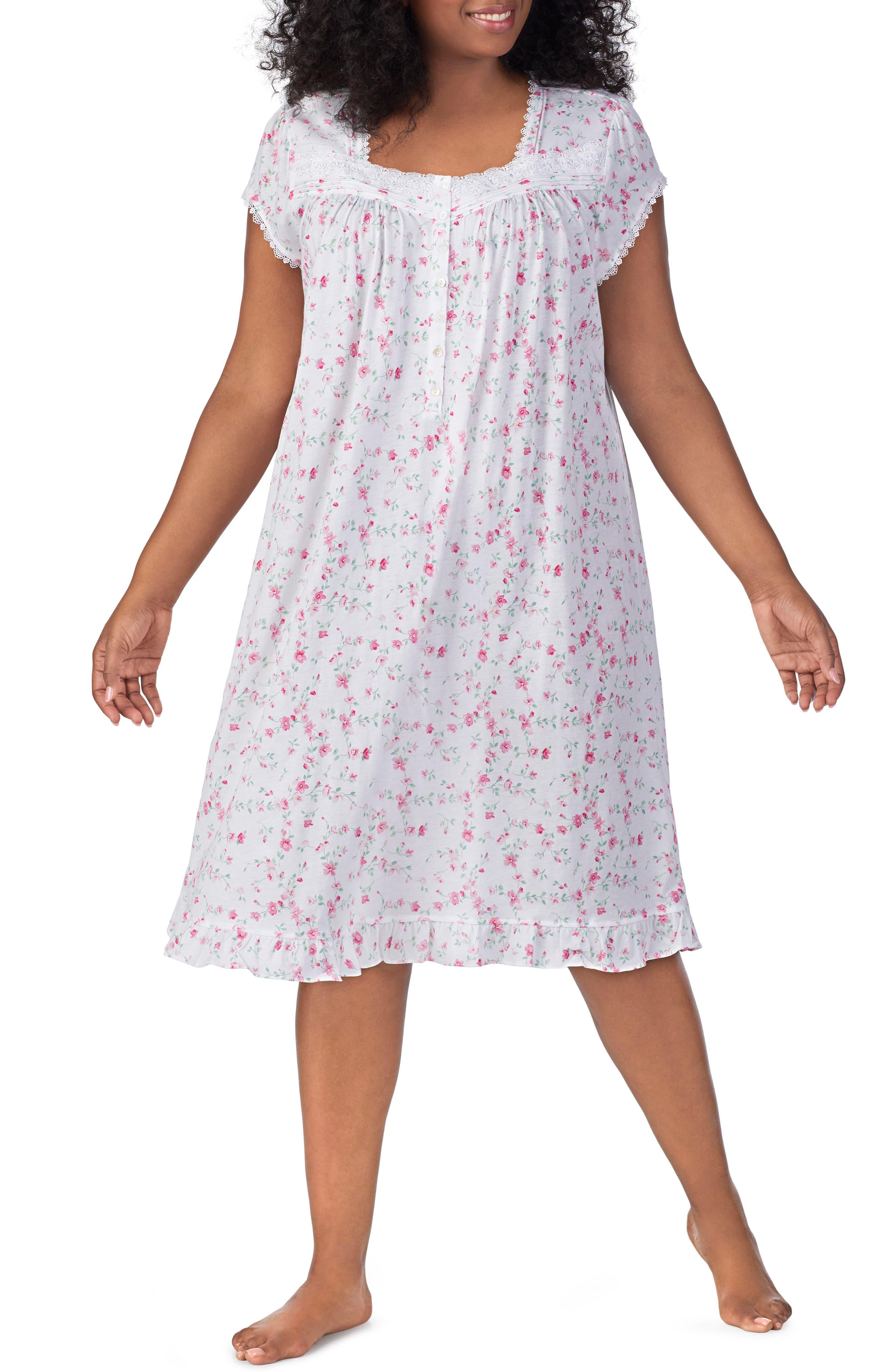 Plus Size Eileen West Waltz Nightgown, White