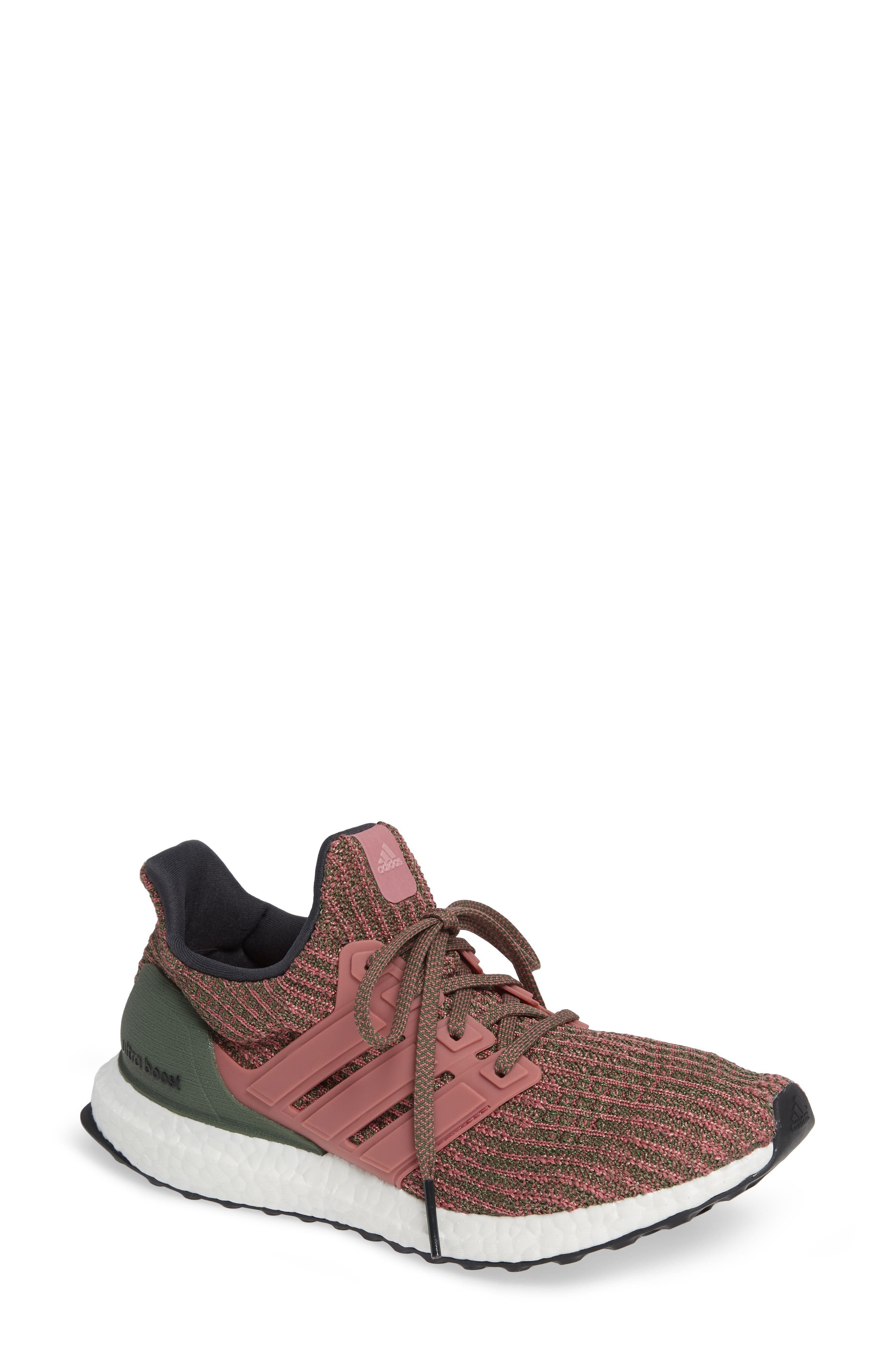 'UltraBoost' Running Shoe,                         Main,                         color, TRACE MAROON/ BASE GREEN