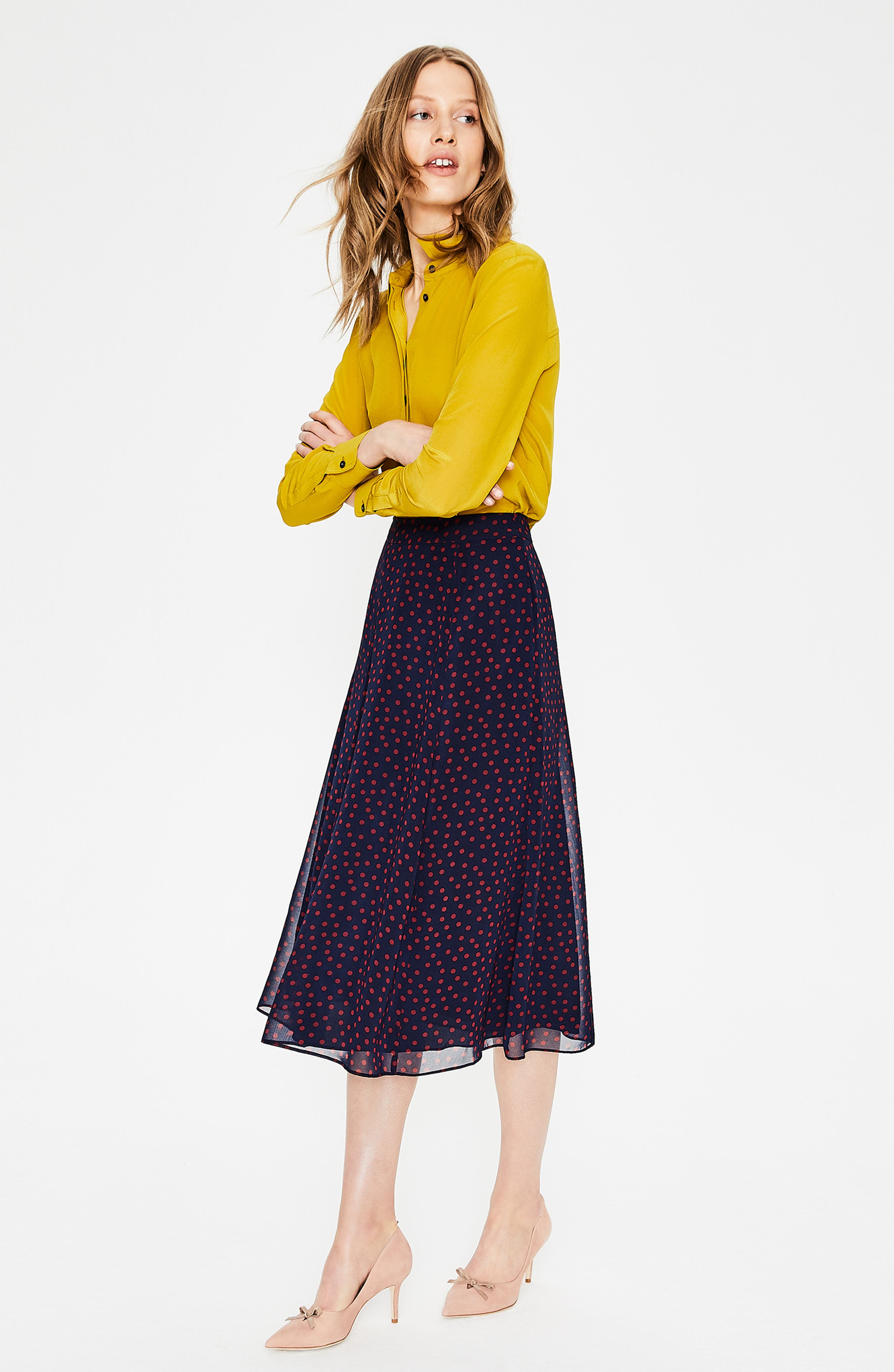 Polka Dot A-Line Skirt,                             Alternate thumbnail 5, color,                             934