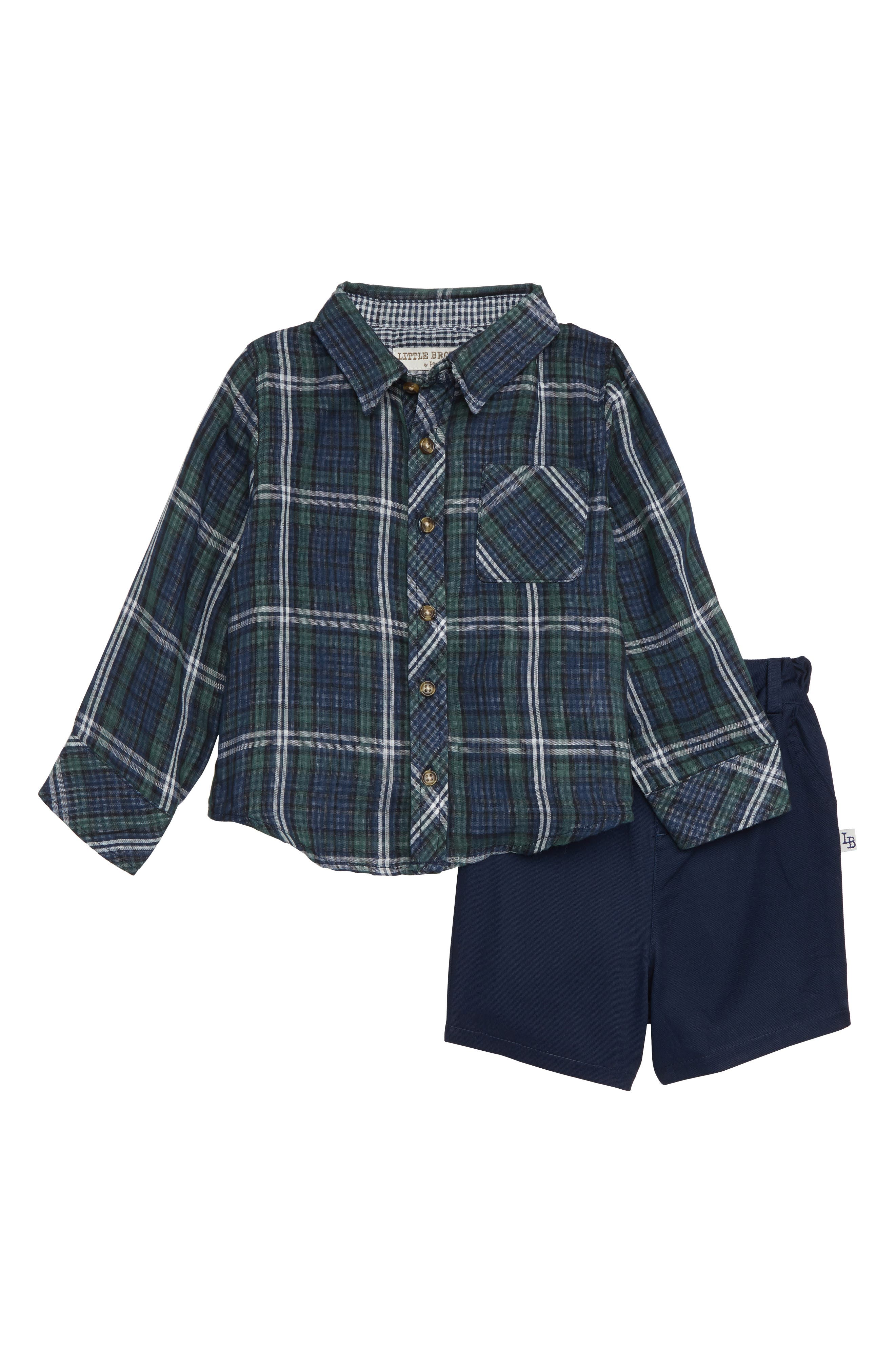 Toddler Boys Little Brother By Pippa  Julie Revers Shirt  Shorts Set