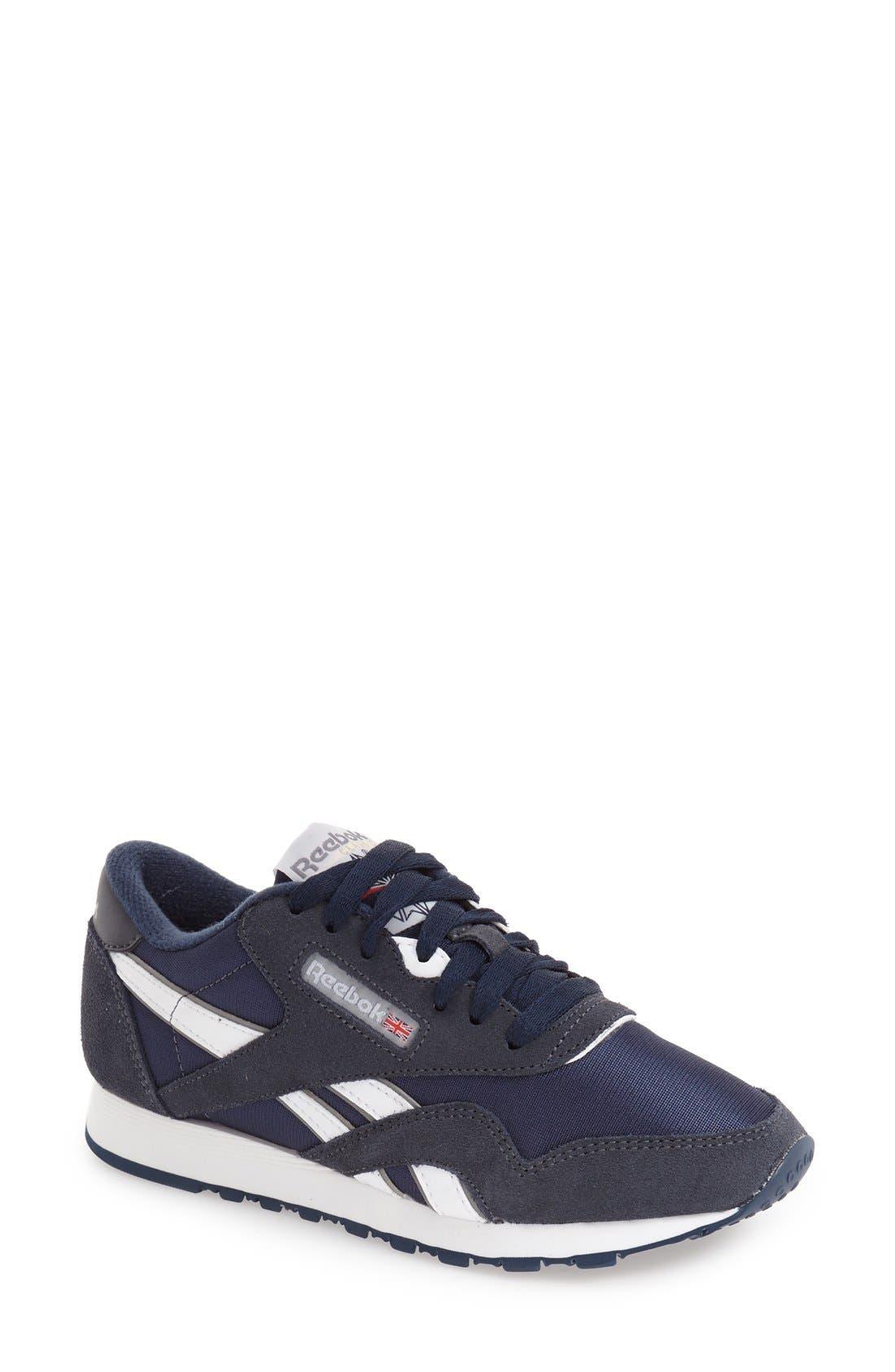 women's reebok classic nylon sneaker, size 9 m - blue