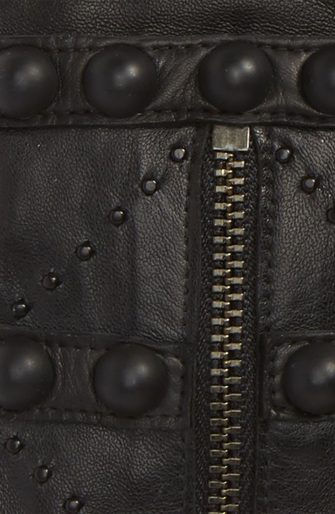Lambskin Leather Fingerless Gloves,                             Alternate thumbnail 2, color,                             001