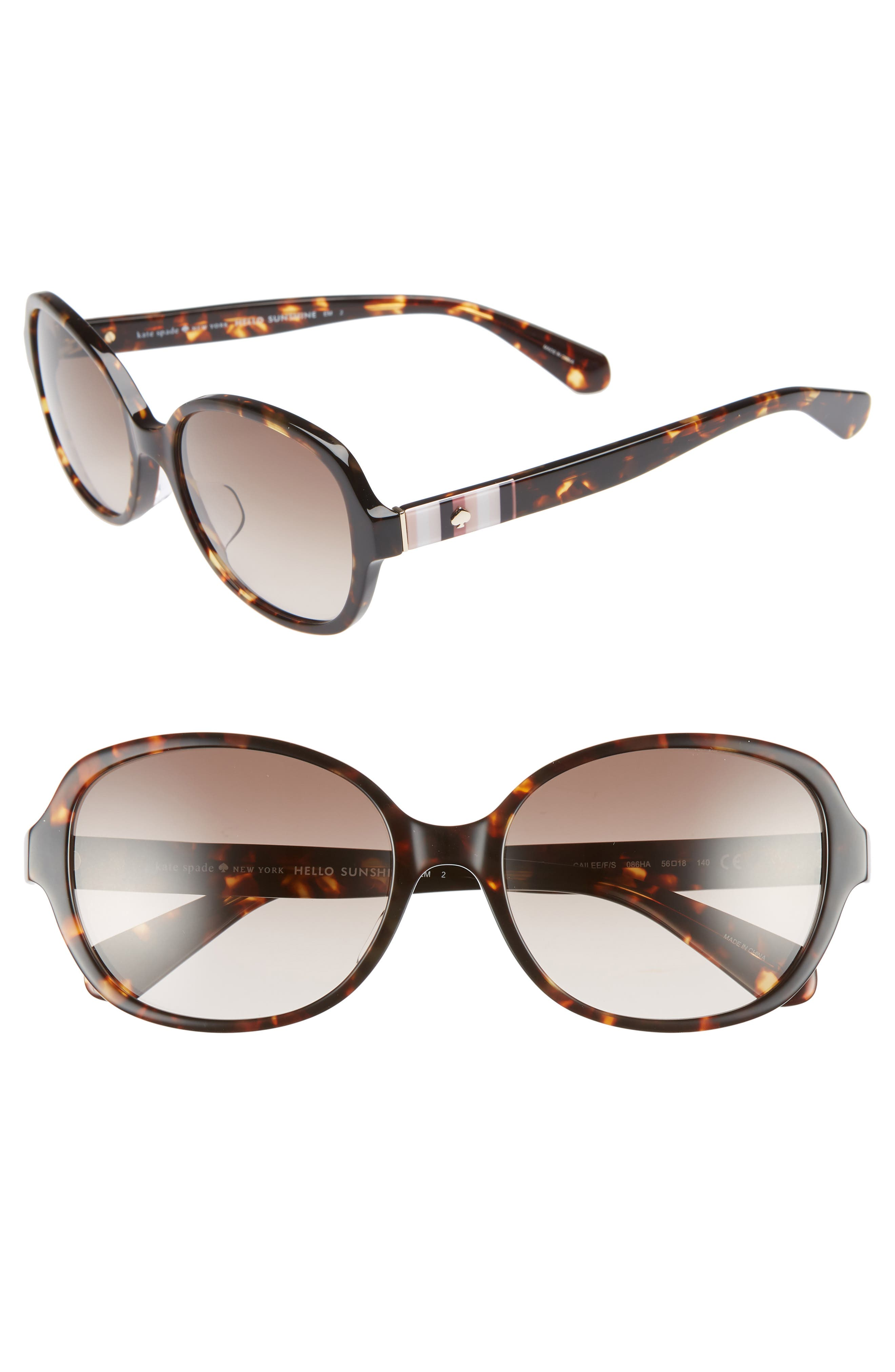cailee 56mm special fit sunglasses,                         Main,                         color, DARK HAVANA