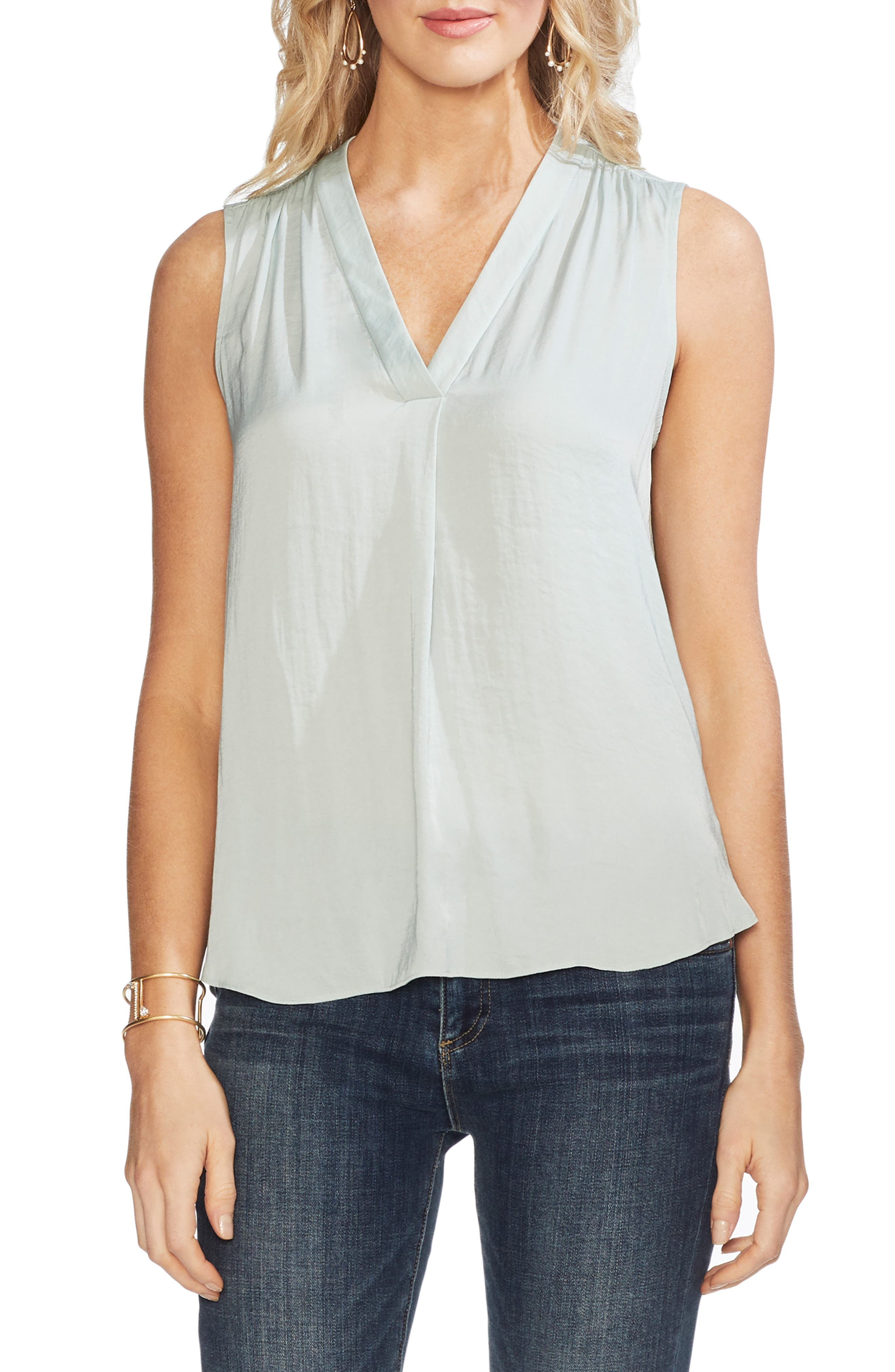 VINCE CAMUTO Rumpled Satin Blouse, Main, color, MORNING DEW