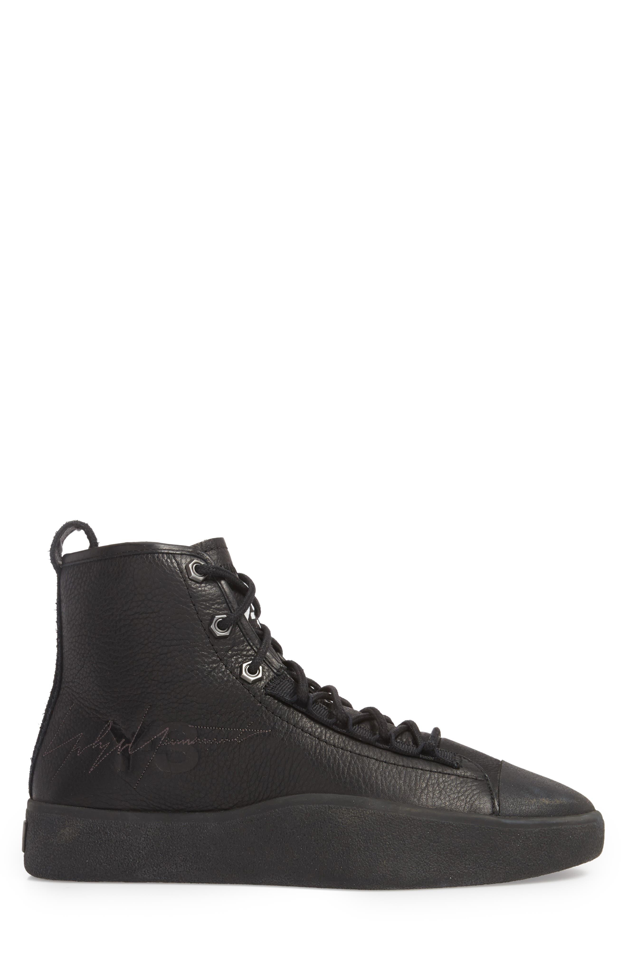 x adidas Bashyo High Top Sneaker,                             Alternate thumbnail 3, color,                             BLACK/BLACK