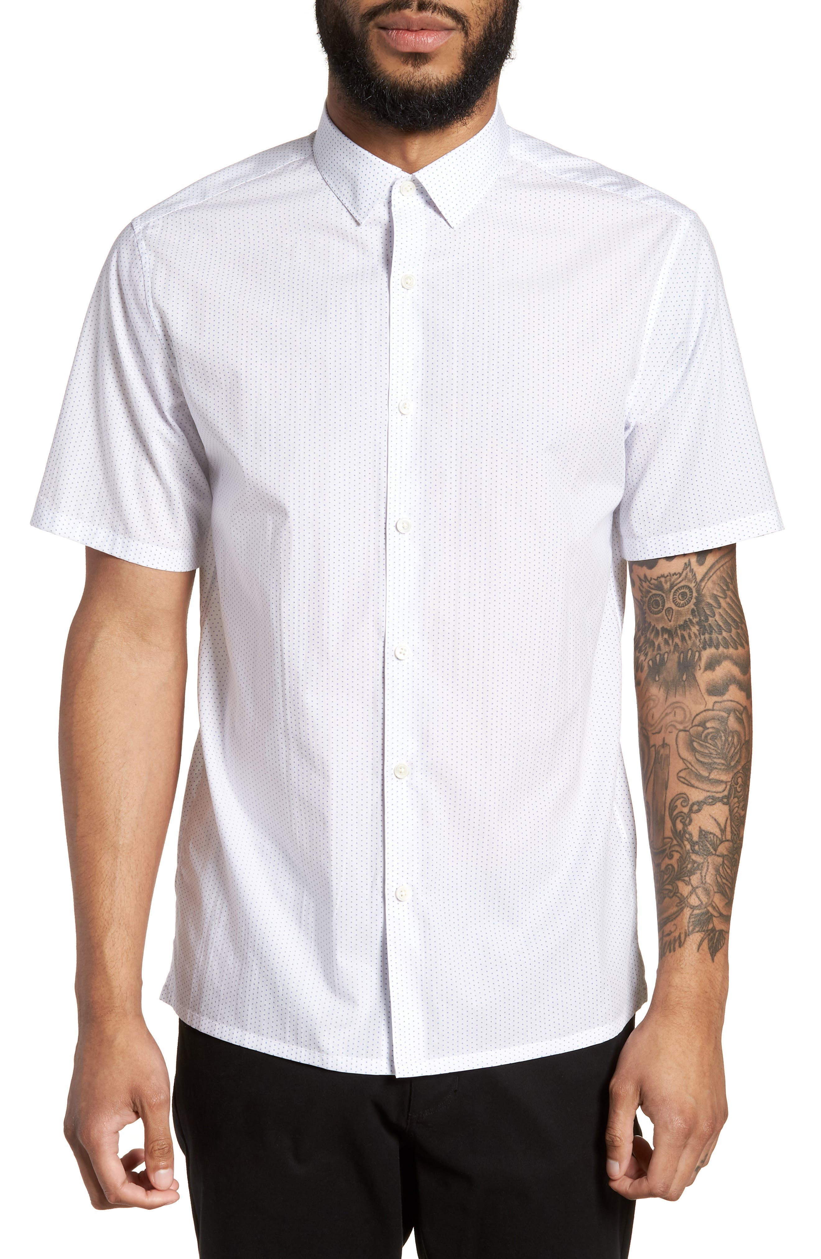 Murrary Trim Fit Dot Short Sleeve Sport Shirt,                         Main,                         color, 100
