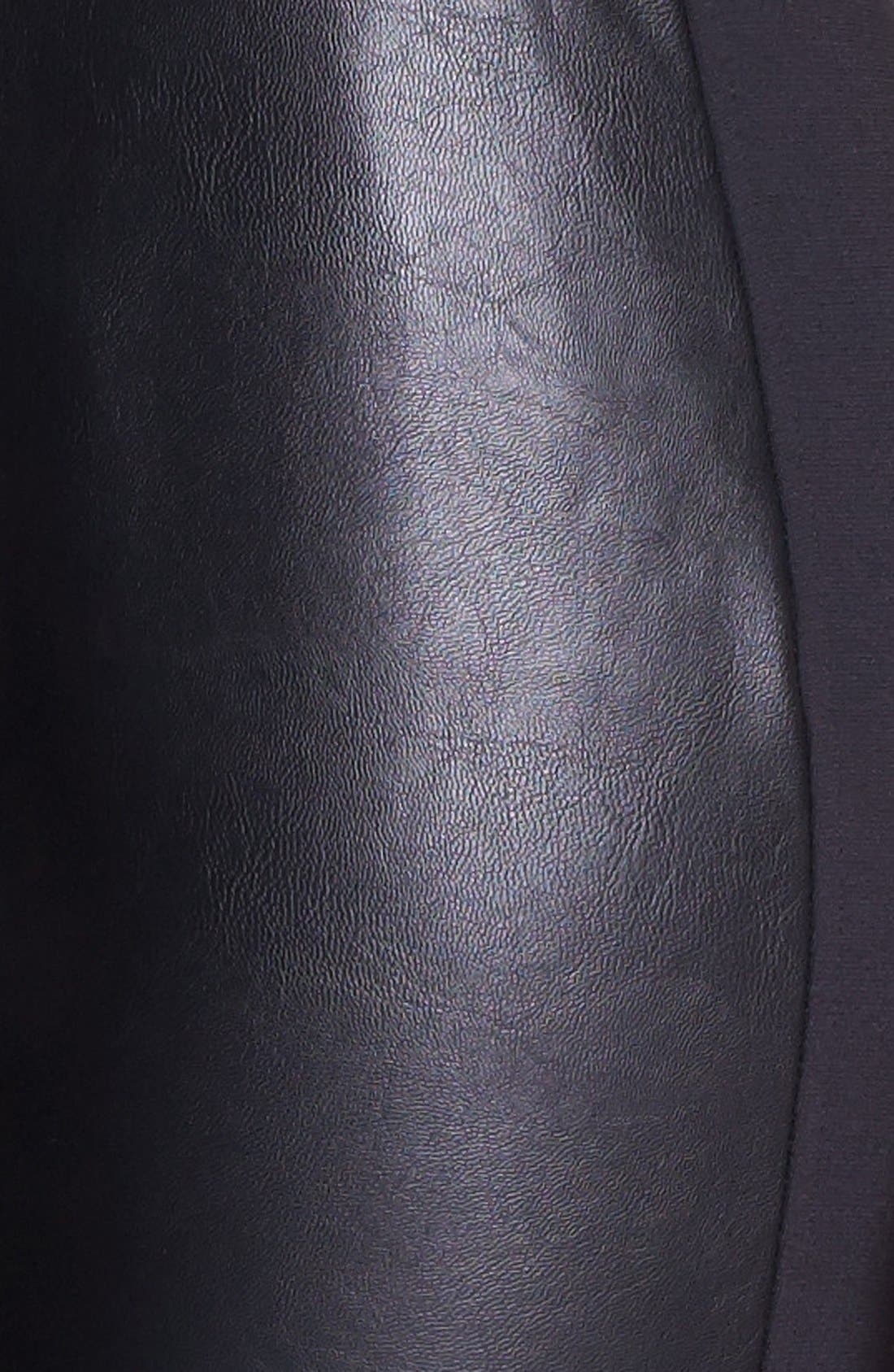 Faux Leather & Stretch Ponte Leggings,                             Alternate thumbnail 6, color,                             001