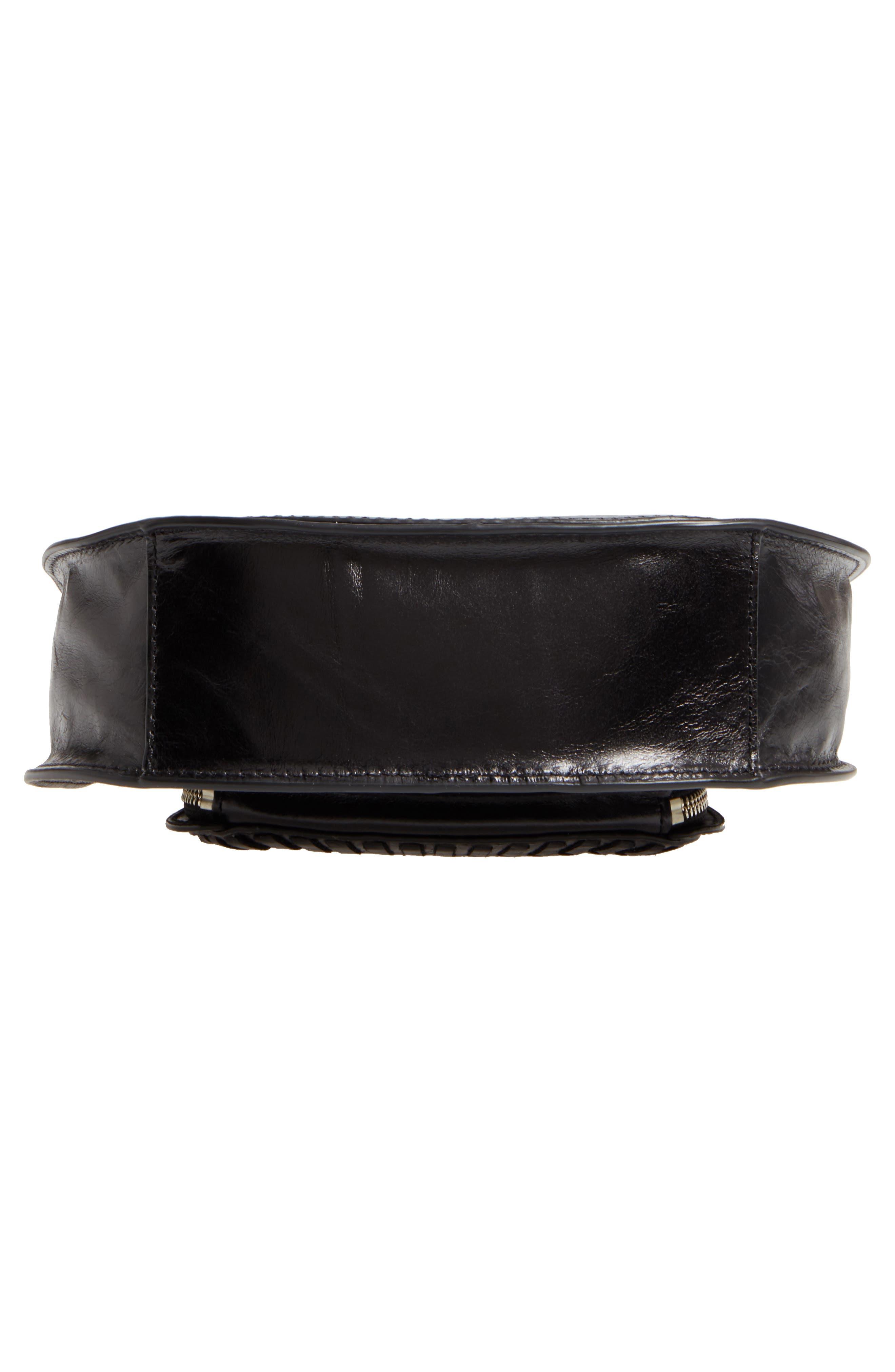 Mini Vanity Leather Saddle Bag,                             Alternate thumbnail 6, color,                             001