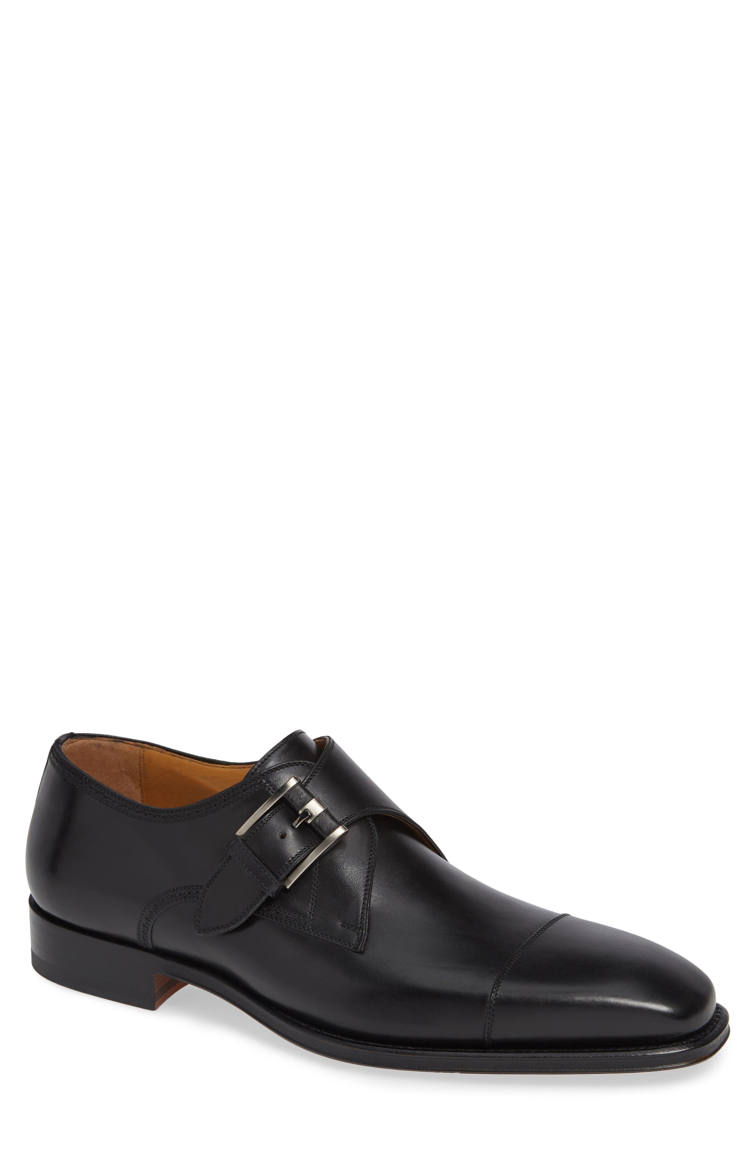 Lennon Monk Strap Shoe,                         Main,                         color, BLACK LEATHER