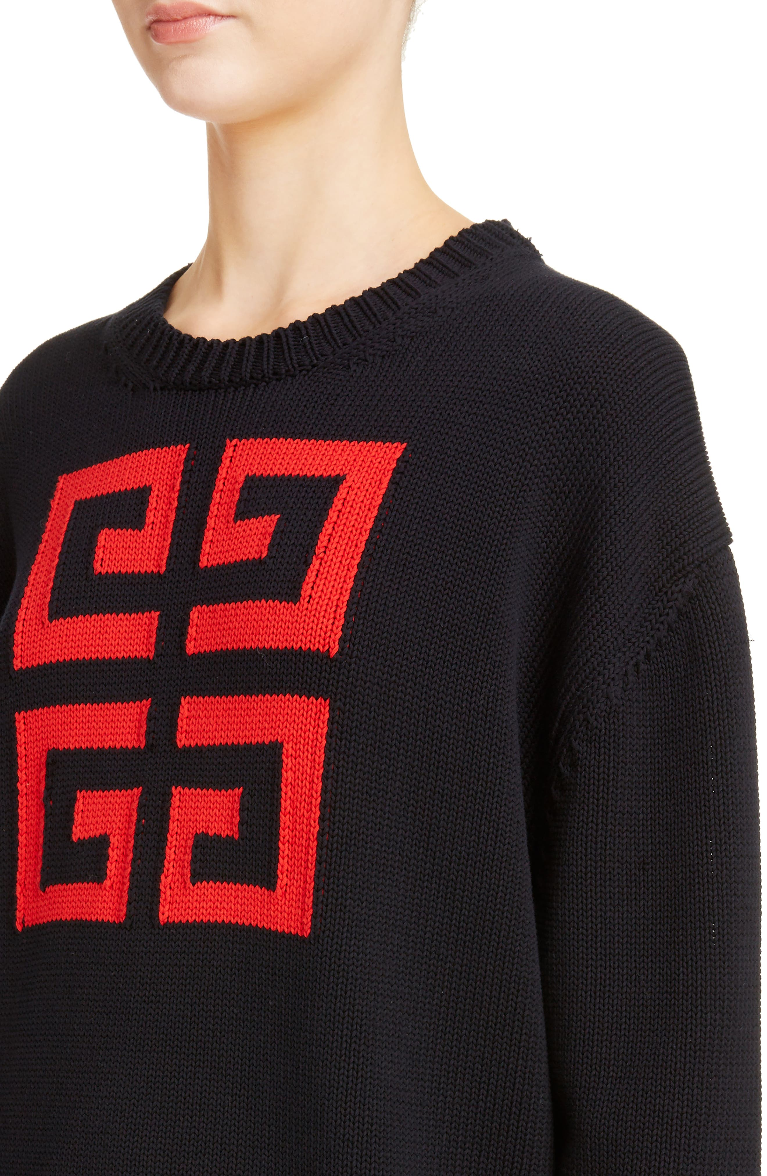 Logo Jacquard Sweater,                             Alternate thumbnail 4, color,                             NAVY/ RED